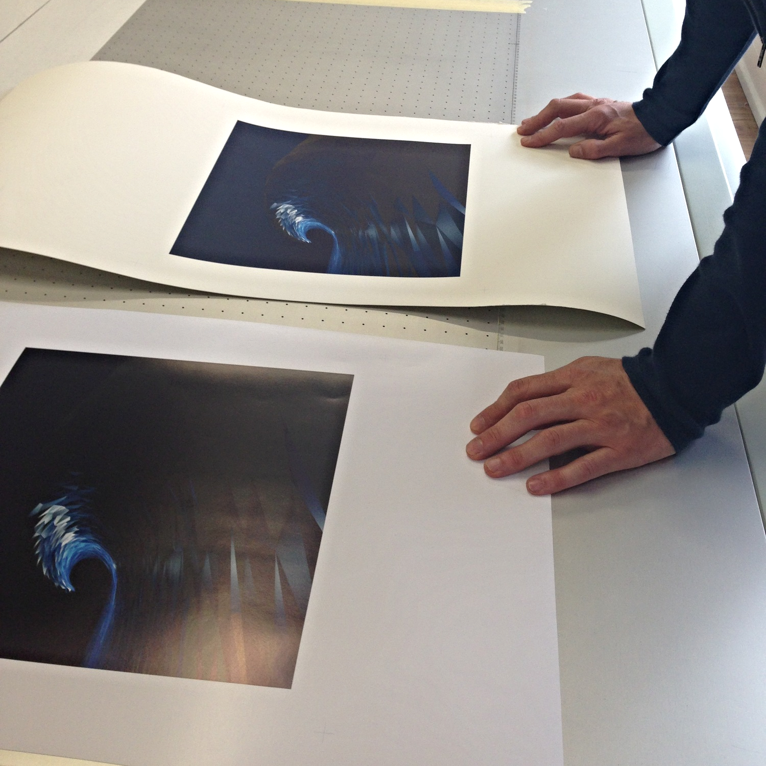 Proofing the prints on recycled paper from Onward Display Printers