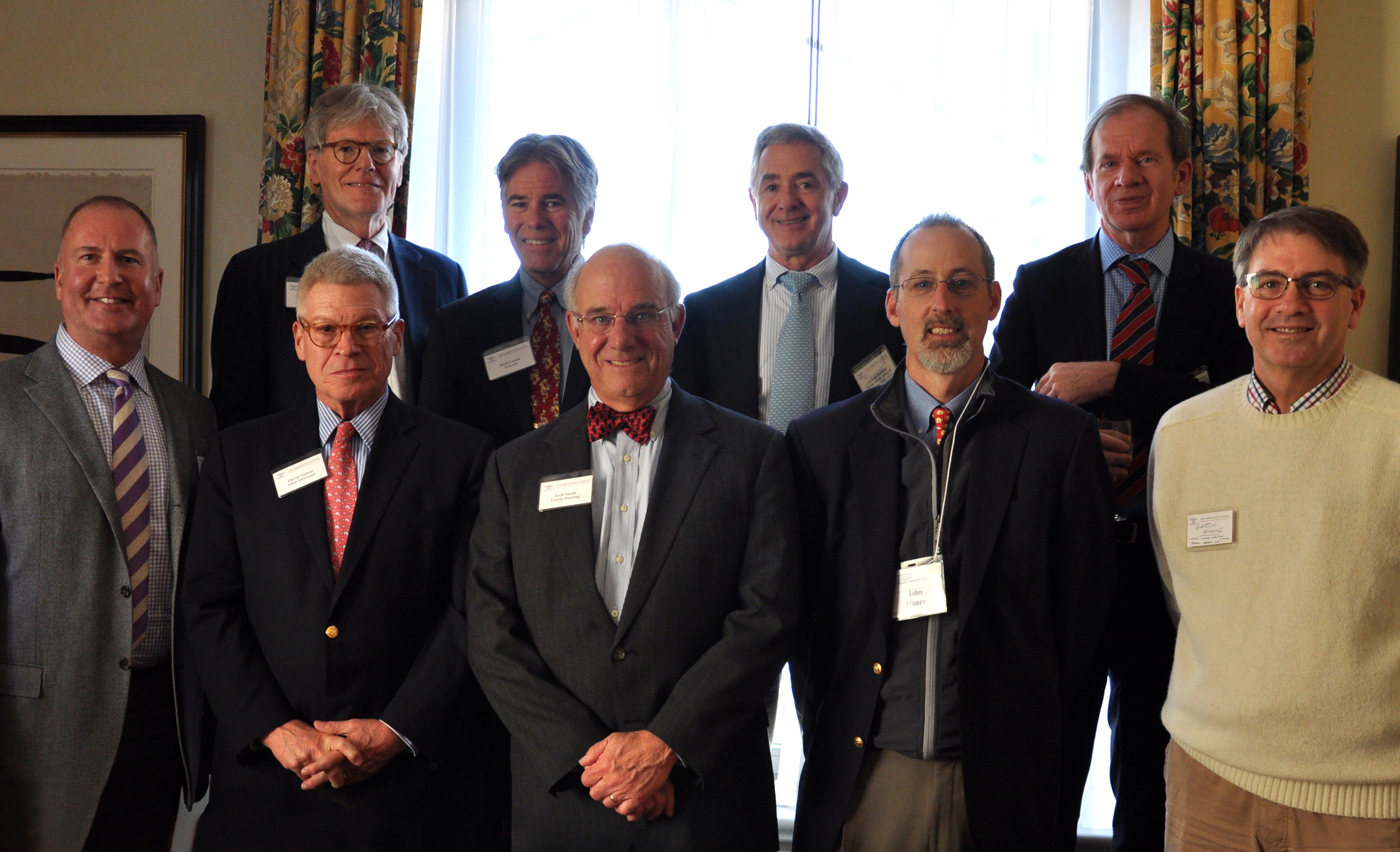 Front row (l-r): Matthew Stuart (Caedmon), David Trower (Allen-Stevenson), Arch Smith (Trinity-Pawling), John Munro (Fairfield CDS), Garth Wynne (Christ Church Grammar School, Perth, Australia)  Back row (l-r): Steve Clement (Browning), Mark Lauria (NYSAIS), Michael Reichert (Center for the Study of Boys' and Girls' Lives), Brad Adams (IBSC)   Not pictured: Betsy Newell (Park Children's Day), Pat Pell (Madison Avenue Presbyterian), Lydia Spinelli (Brick Church)