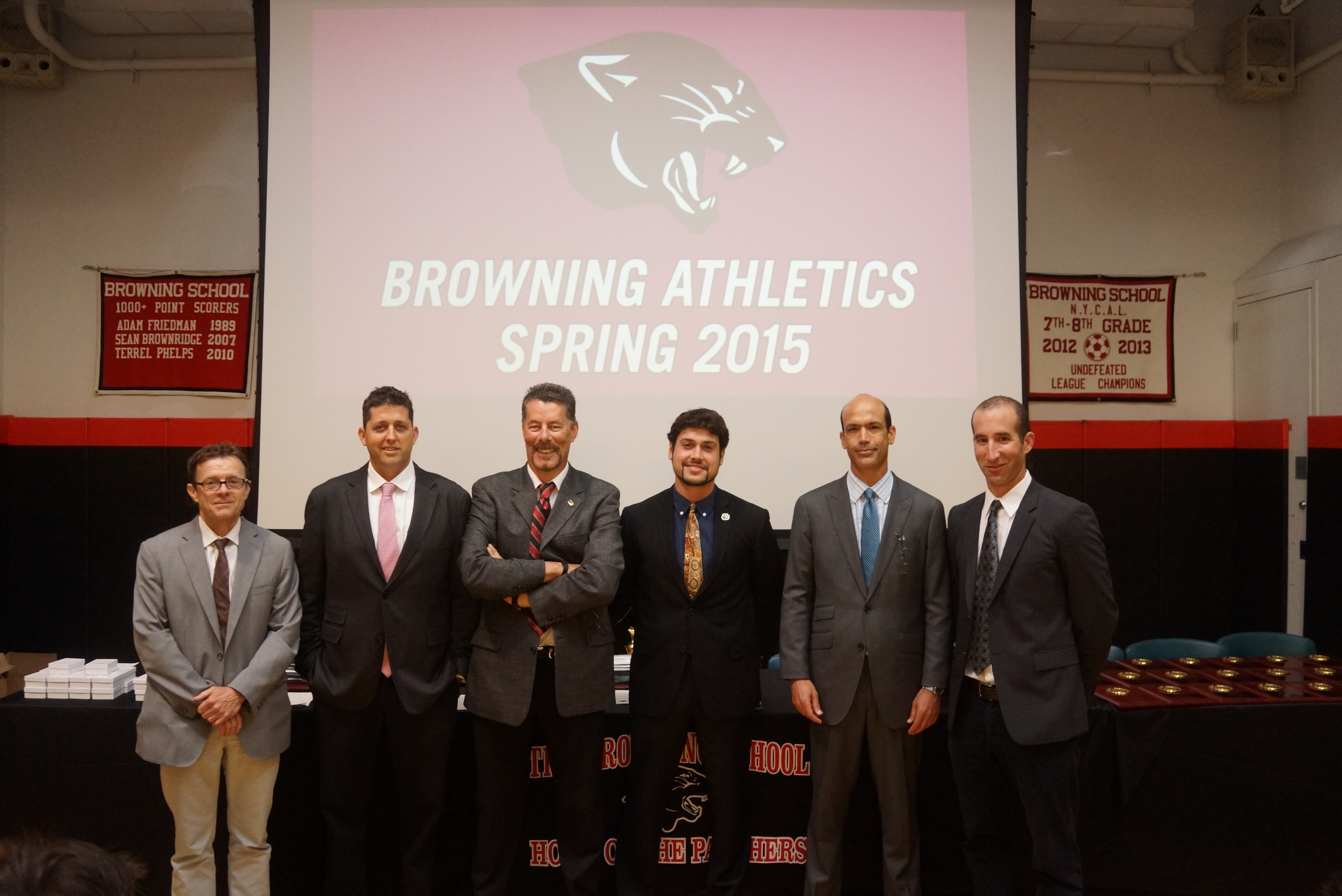 Spring coaches Dominique Bernard (Track), Andrew West '92 (Varsity Baseball), David Watson (Golf), Andrew Wolf (7/8 Baseball), Michael Klein (Tennis) and Michael Cohn (Varsity).