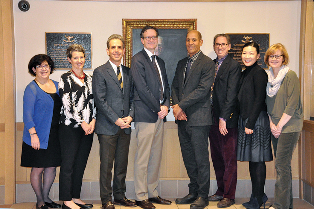 Browning's Steering Committee included (L to R): Assistant Head of School/Head of Lower School Laurie Gruhn, Modern Languages Department Chair Megan Ryan, Director of Institutional Advancement Jim Simon, Head of Middle School Chris Dunham, Head of Upper School Jim Reynolds, Director of College Guidance Sandy Pelz '71, Director of Middle & Upper School Admission Janet Lien (Chair) and Grade Three teacher Susan Kehoe. Not pictured: Retired Headmaster Stephen M. Clement, III, Director of Technology Aaron Grill, Grade Five teacher Dan Ragsdale.