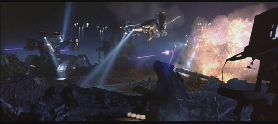 """Aerial robots from a """"Terminator"""" film."""
