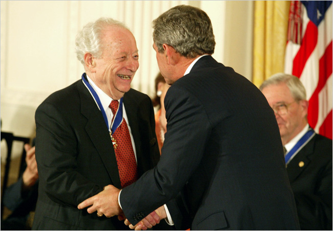 Irving Kristol, neocon godfather, being awarded the Presidential Medal of Freedom on July 2, 2002.