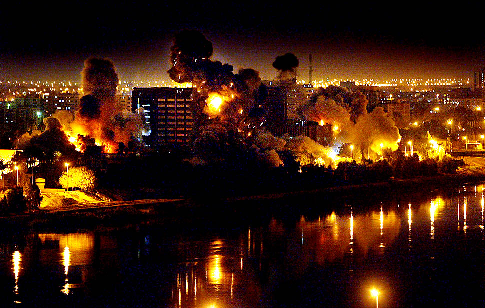 The US bombing Baghdad in 2003.