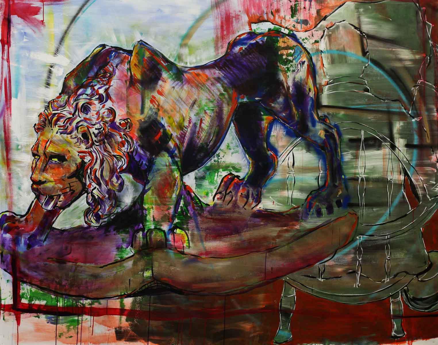 "Bernini Study 84""x70"" Acrylic and Aerosol on Canvas"