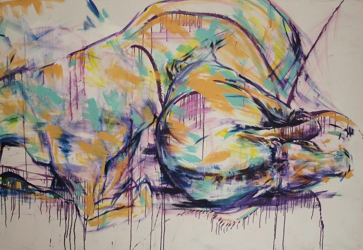 """Luctantem Equus 100""""x68"""" Acrylic on Canvas"""