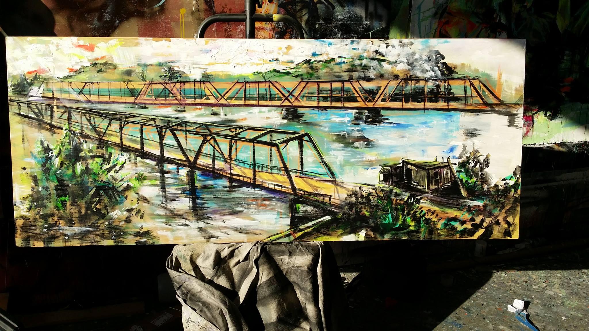 1903 11th st. Wagon Bridge and RR, Tulsa OK.   Acrylic on wood. 2015