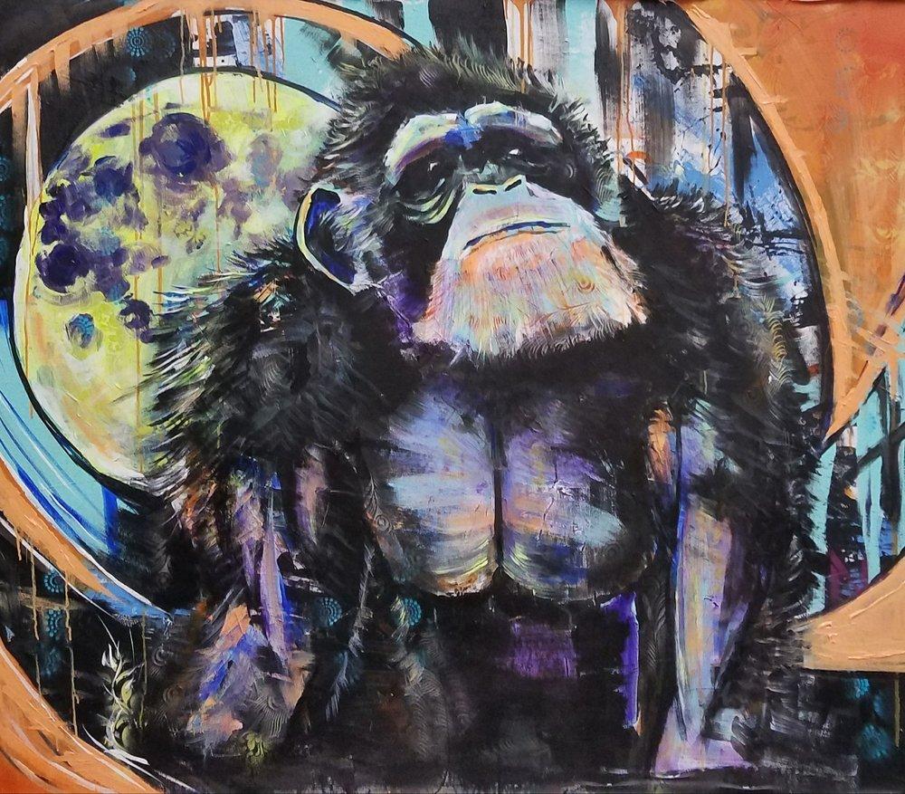 Bili Ape  5'x5' Acrylic on Canvas