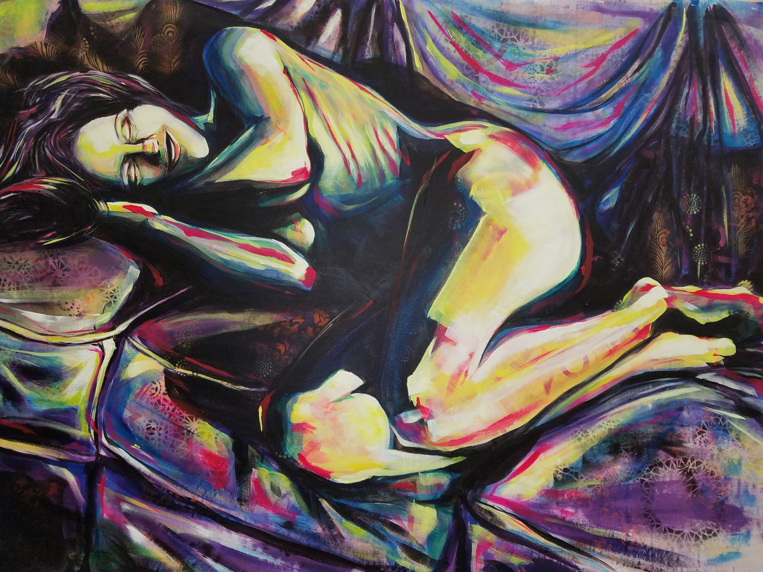 "Dulces Suenos. Acrylic on Canvas. 2017. 70""x50"""