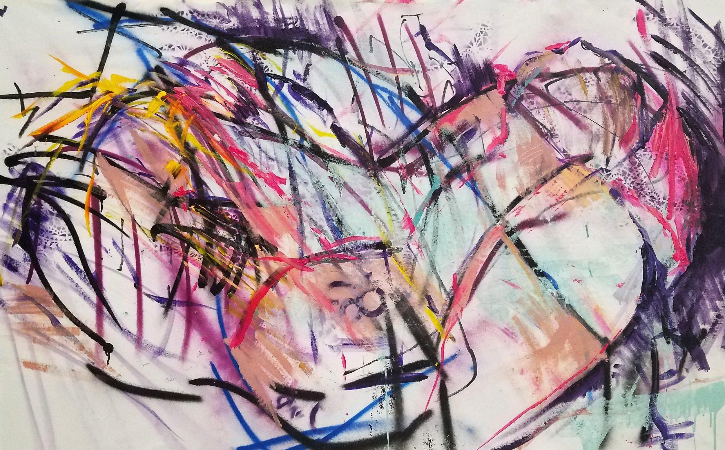 "Despeuse la Fantasma. Acrylic on Canvas. 40""x67"""