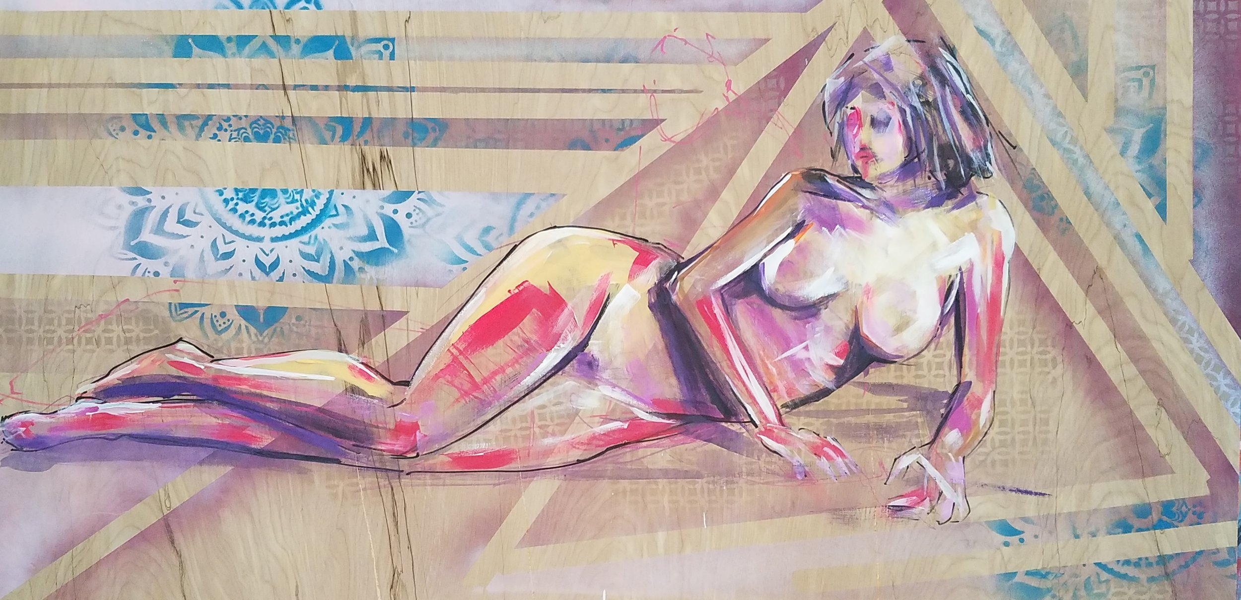 "Figure Study. Acrylic on Canvas. 24""x48"""