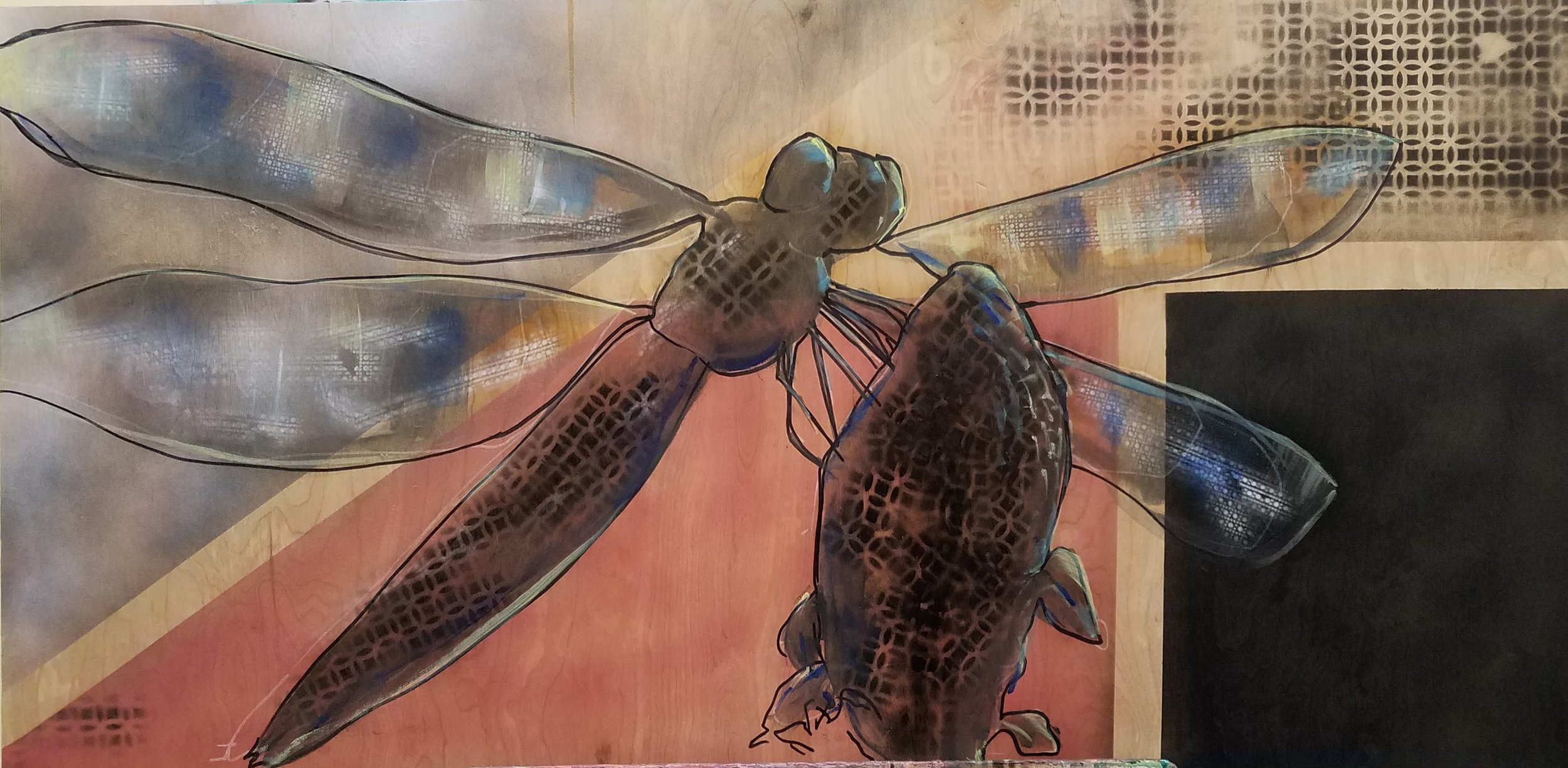 """Dragon Fly. Mixed Media on Wood Pannel. 24""""x48"""""""