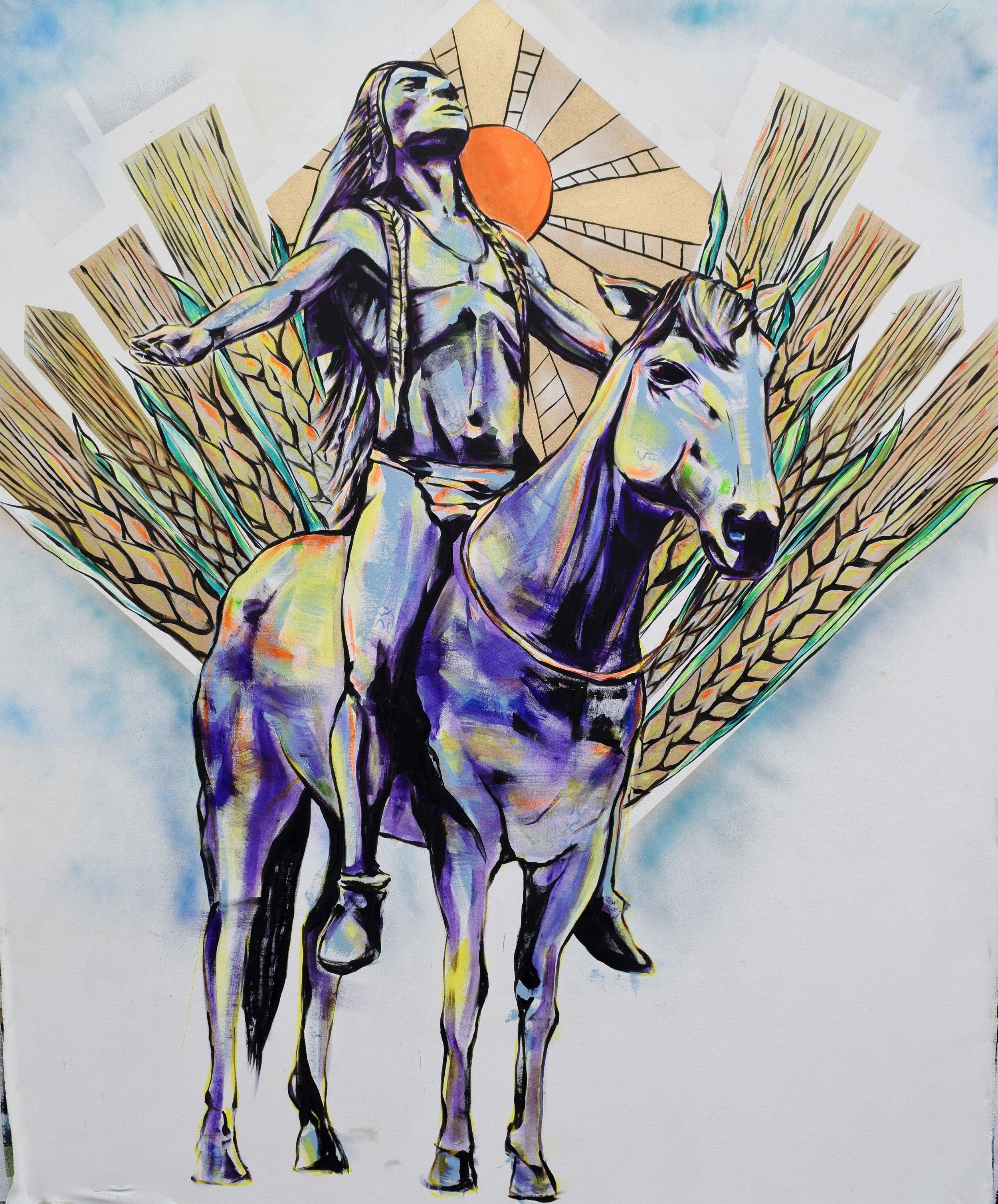 "The Great Spirit (Deco Harvest) Acrylic on Canvas. 84""x60"""