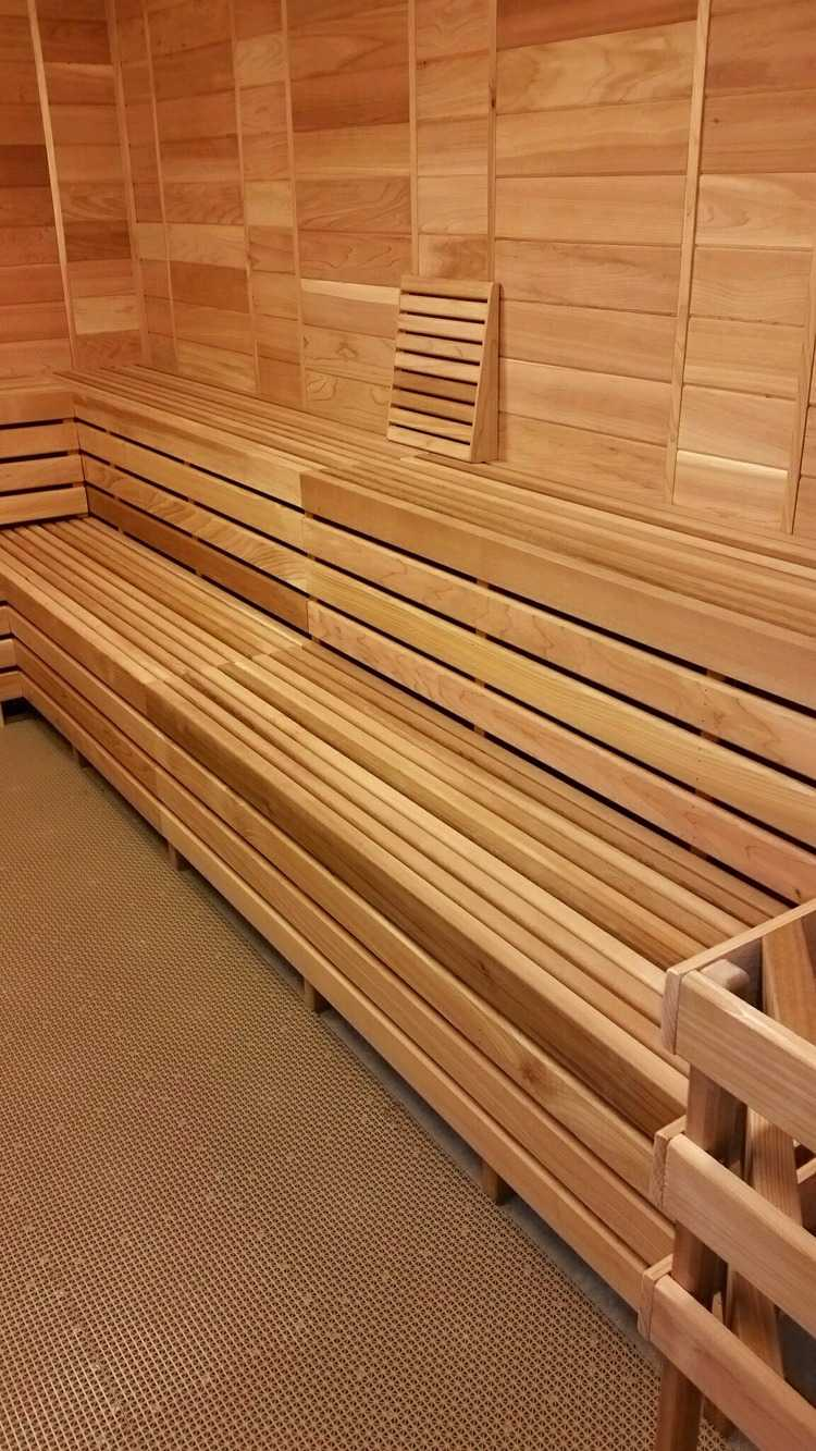Wood steam room with Sauna head rest