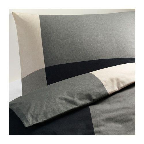 Ikea BRUNKRISSLA,Duvet cover and pillowcase(s), black, gray
