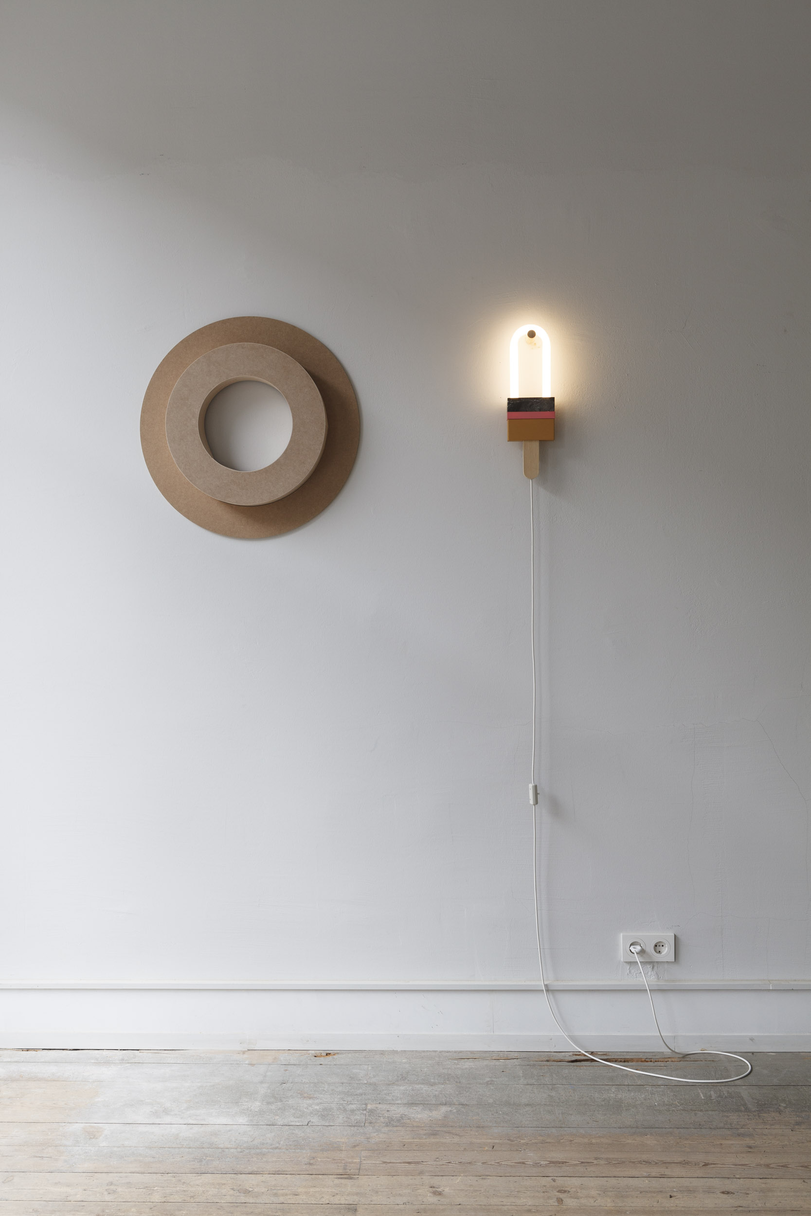 LIGHT SCULPTURE POPP,  GLASS, ACRYLIC, LACQUERED MDF, NATURAL STONE, WOOD  14 x 4 x 44cm  Many thanks to  Van Den Weghe , Belgium for their support