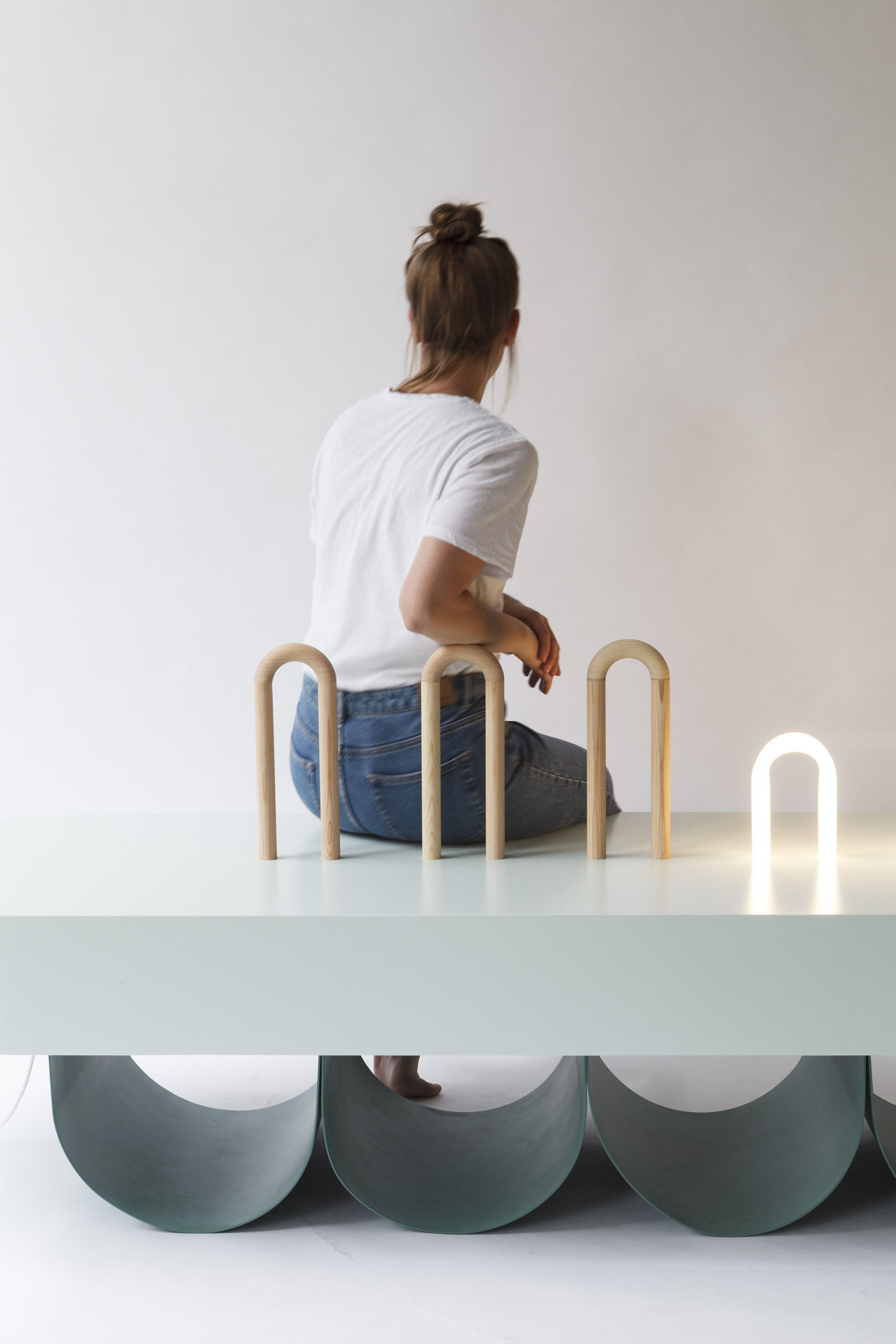 BENCH BOW,  WOOD, ALUMINIUM, GLASS, LACQUERED MDF  204 x 70 x 74cm