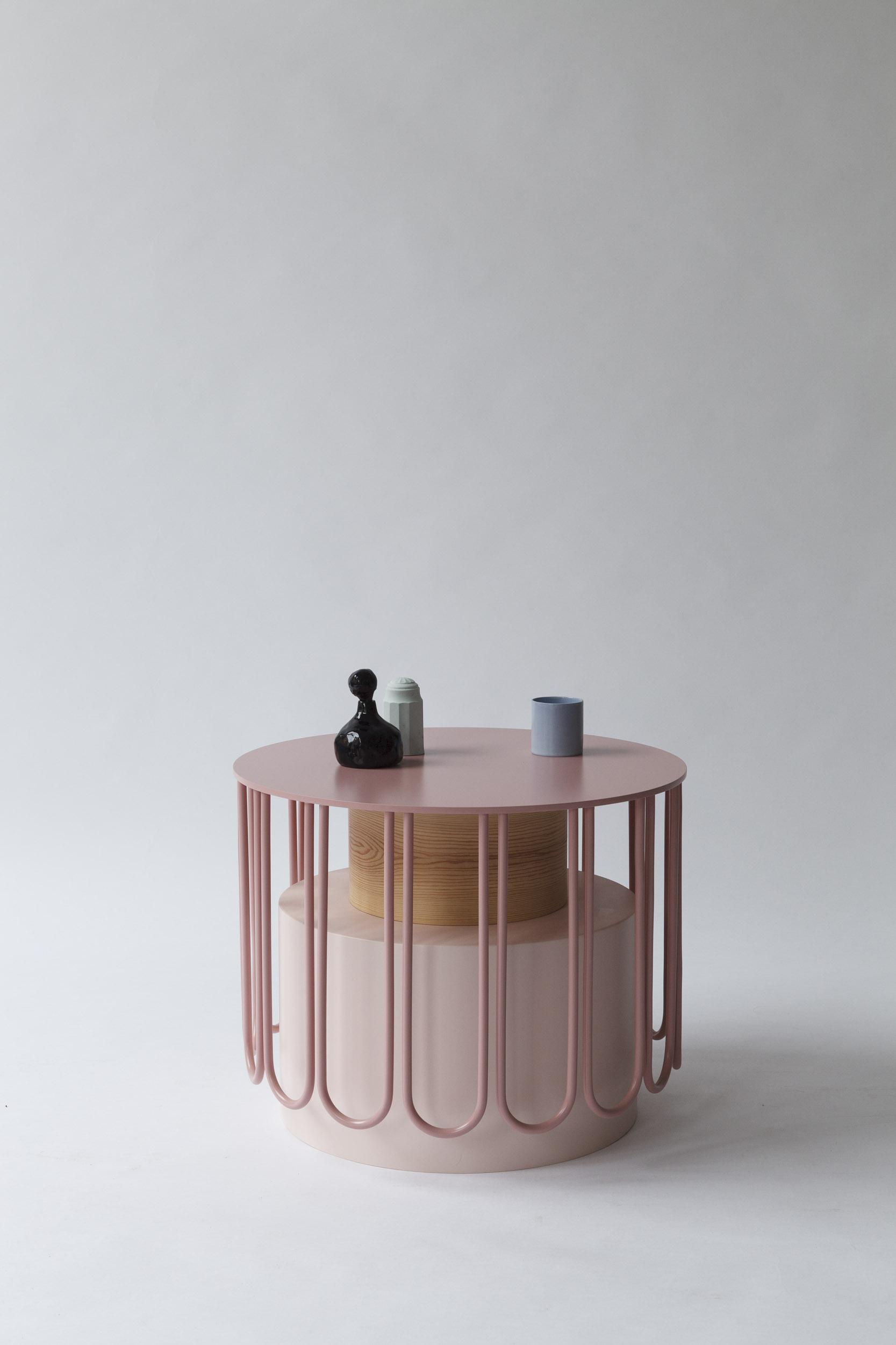 SIDE TABLE TUTU SMALL,  WOOD, ALUMINIUM, PVC, LACQUERED MDF  52 x 52 x 40cm