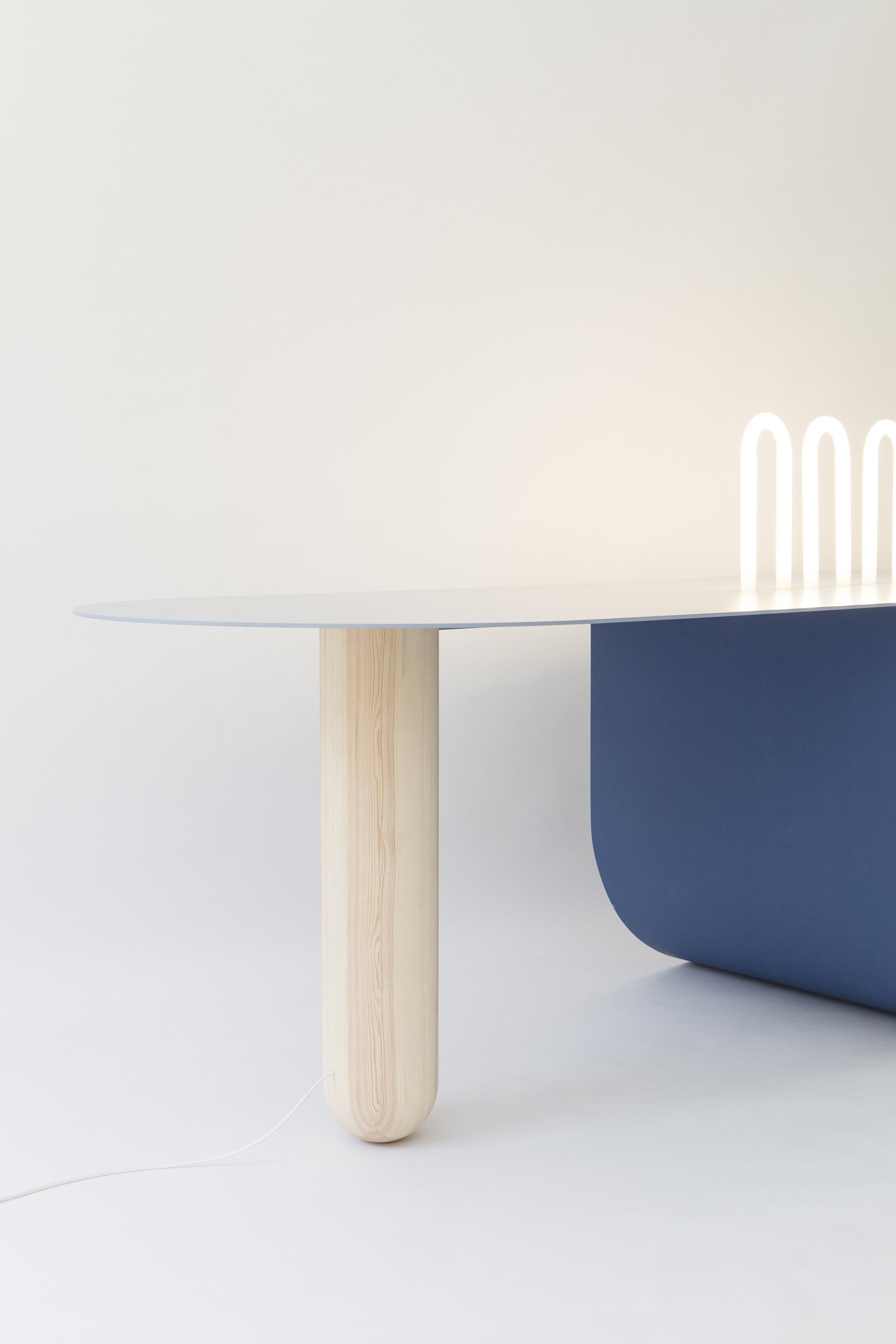 TABLE PONT,  WOOD, ALUMINIUM, GLASS  220 x 80 x 73cm
