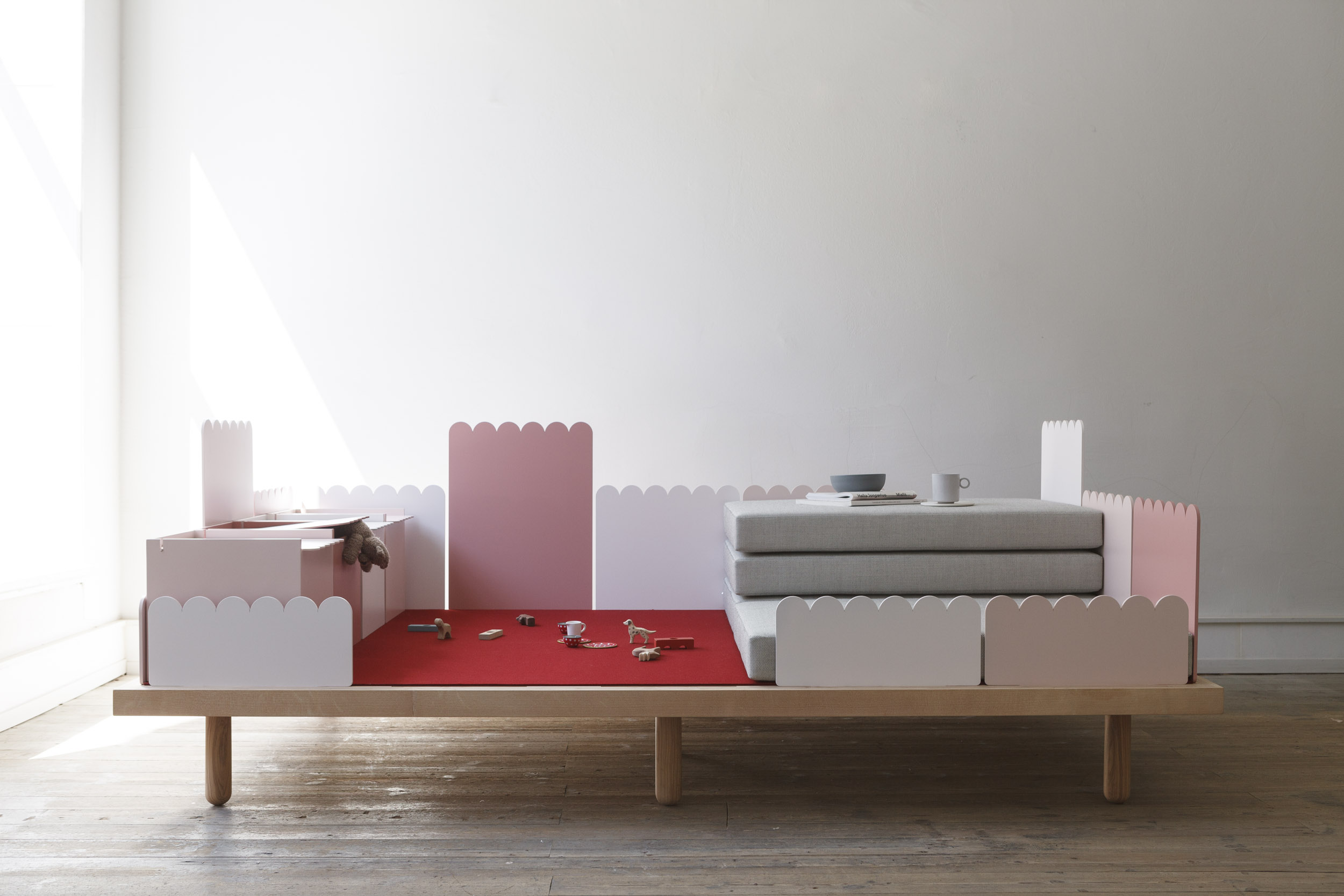 DIVANO PER LA FAMIGLIA  Multifunctional sofa for children and adults    ASH WOOD, LACQUERED ALUMINIUM, KVADRAT BASEL TEXTILE, RED MERINO WOOL FELT  245 x 150 x 30cm ( Height over all 100cm )  stackable back parts and lower legs ( 15cm ) for a babies playground