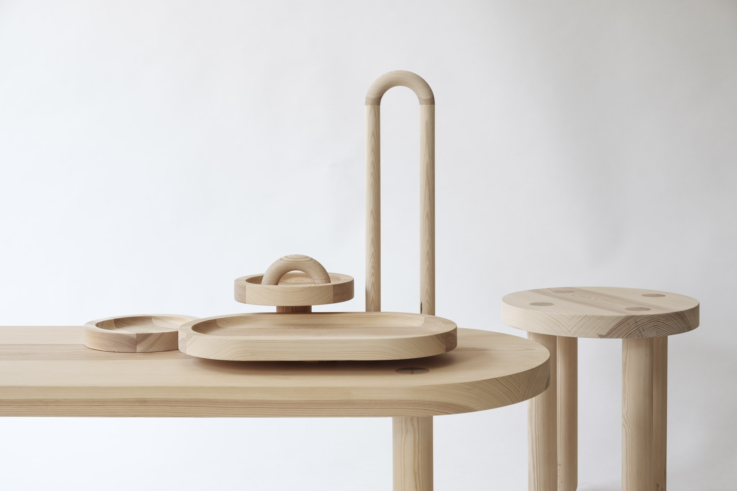 COFFEE TABLE MUTE MAGNETIC, integrated invisible magnets for placing different trays  SOLID WOOD, OILED  50 x 1200 x 45cm