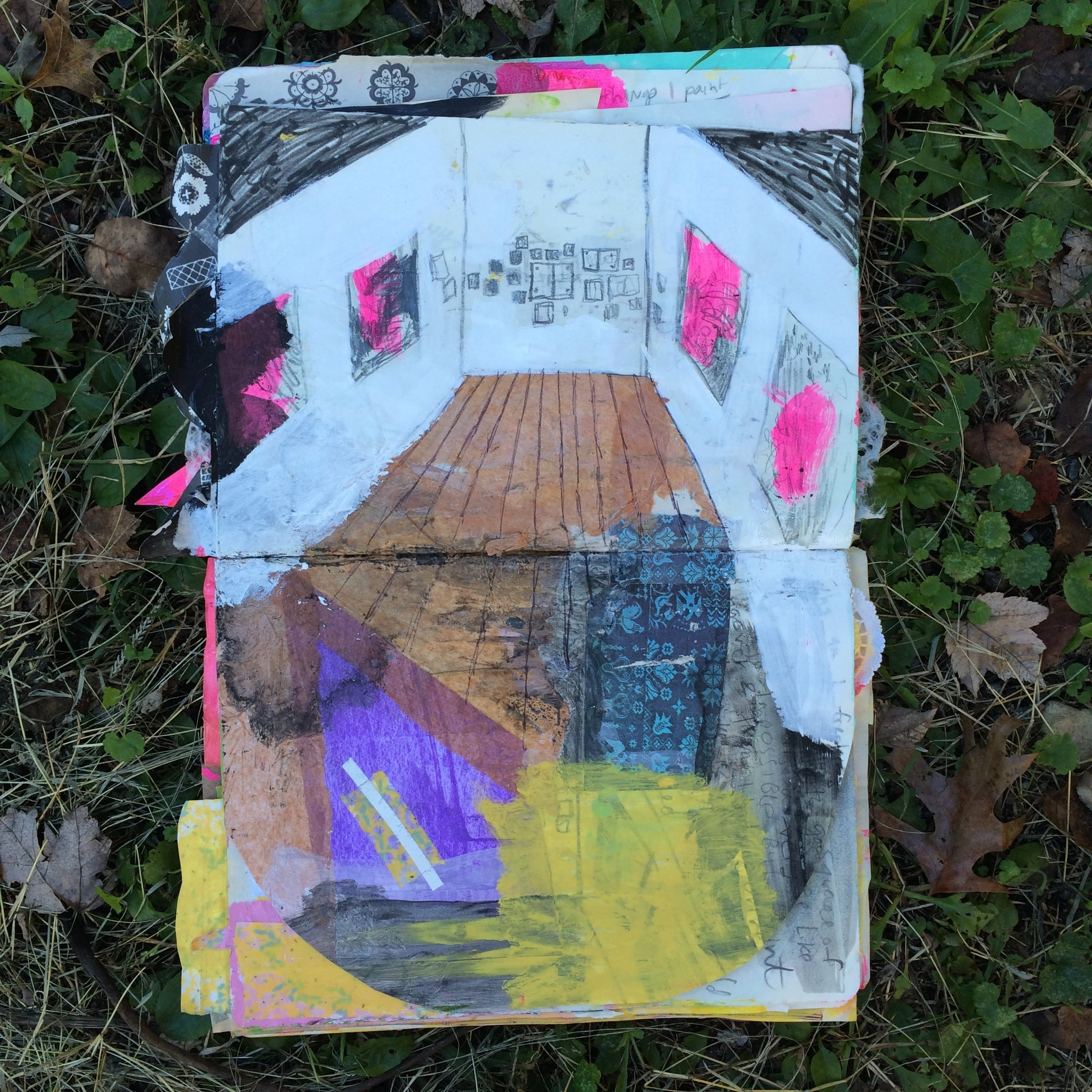 This is an approximation of the walls I will be making work for, from my art journal. Except I won't be collaging their floors, haha.