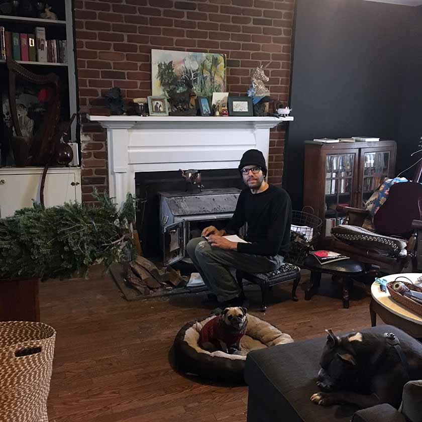 Living room scene, morning, Dec. 2016.