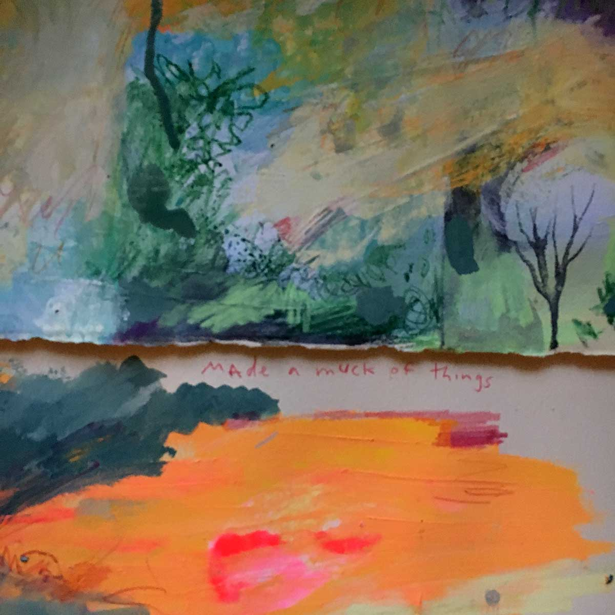 Using paper as a palette while working. Then I can use that palette paper as the base of a new painting.