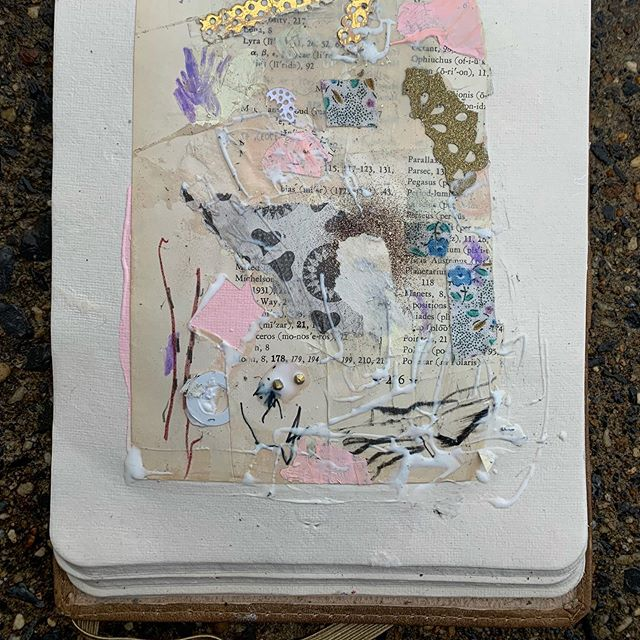Paper palette glued into my sketchbook, glue still wet.  #sketchbook #collage #palette