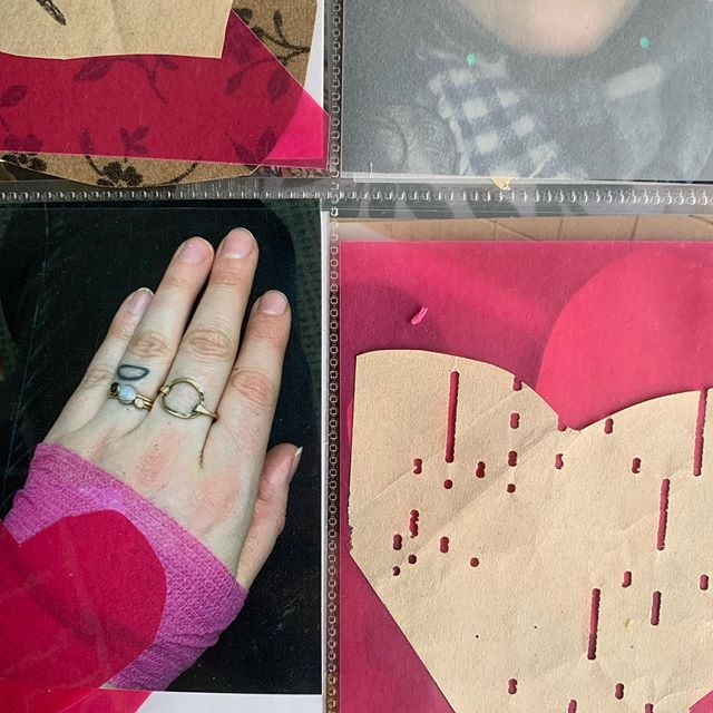 I have been enjoying sharing snippets of my scrapbooks lately, I'm gonna keep doing it.  This is an art account and art making is a huge part of my life, but it's far from the only part.  Ever since I shared about my recurrent loss diagnosis last month I have felt a lot more authentic when I'm on here.  I guess I just felt like what I share here was way different than how I have been feeling the past few years.  But also, since my art process is intuitive, I can see some of the emotions coming through.  This is a picture of my bandaged hand.  I had many many days like this when I was going through IVF.  IVF involves a lot of bloodwork  and my veins are very hard to find so the nurses would draw blood from my hands.  I'm not afraid of needles or anything and I don't mean this to be a complaint.  I felt very privileged for the opportunity to do IVF even though it didn't work out for us.  Anyway when I see this picture it's a total #mood for me.  Bummer IVF days.  Keepin it real.  In a relentlessly curated way.