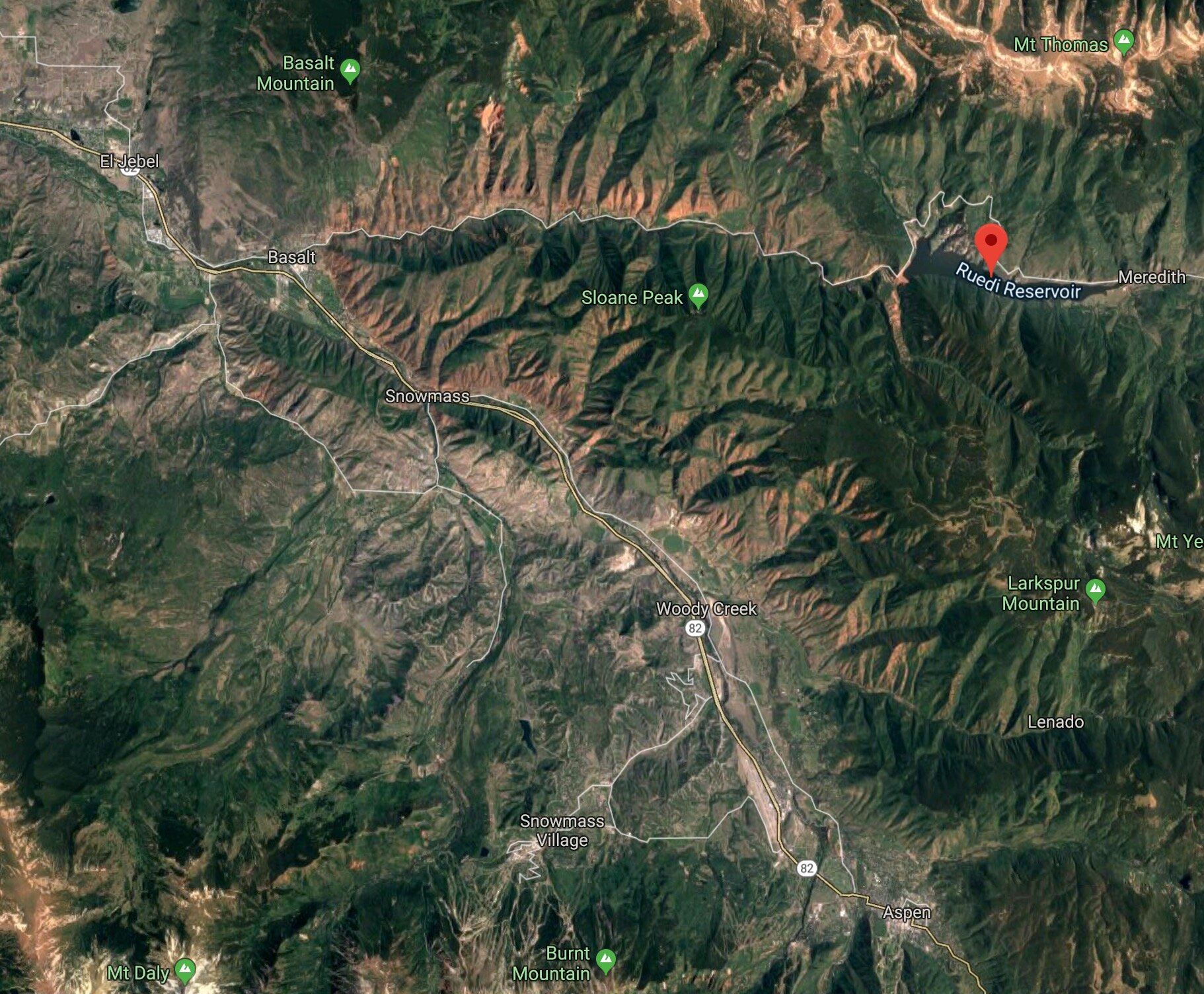 Google Maps Photo shows Ruedi Proximity to Basalt and Aspen