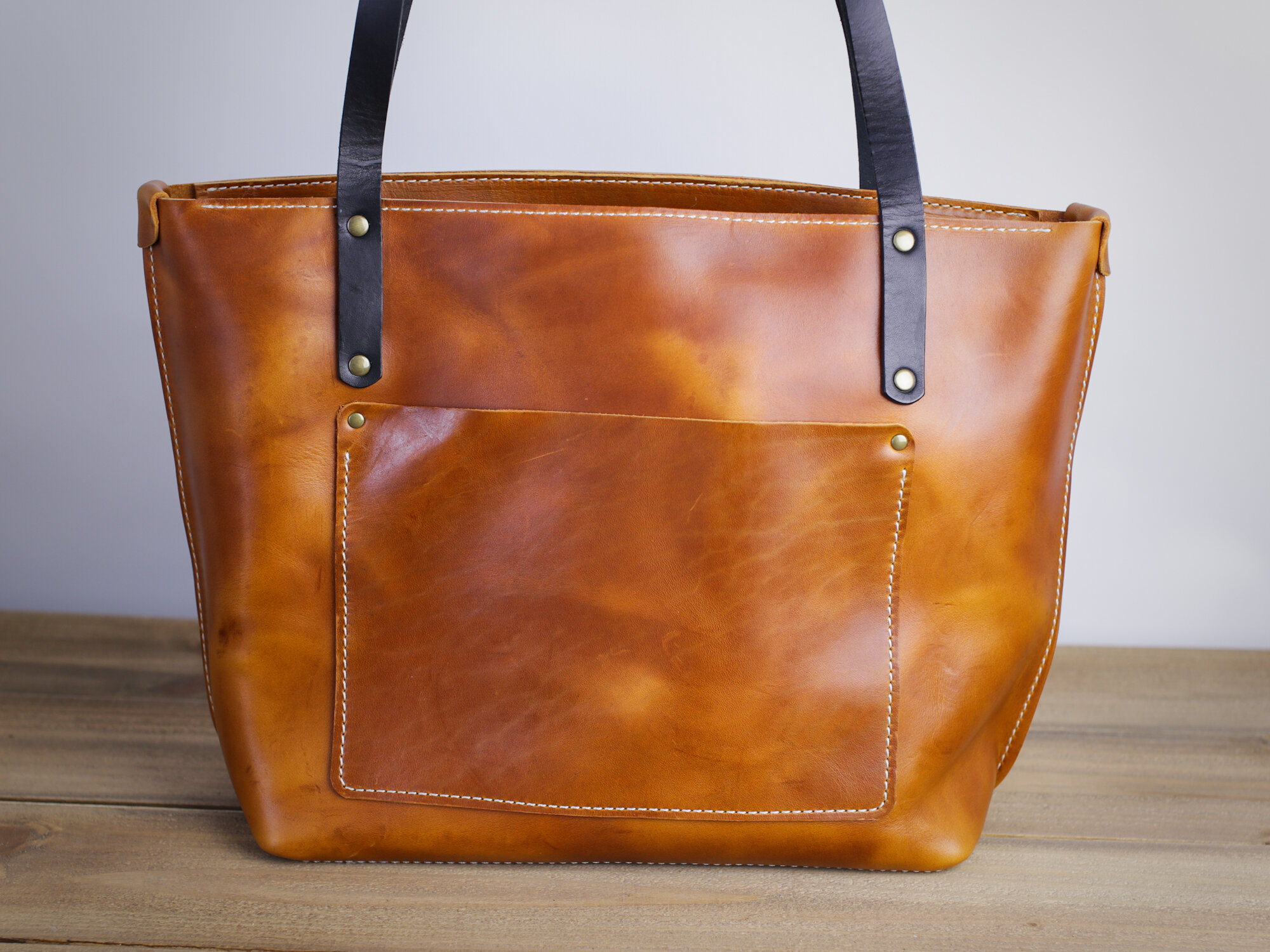 Large Leather Tote Bag In Brown Nut