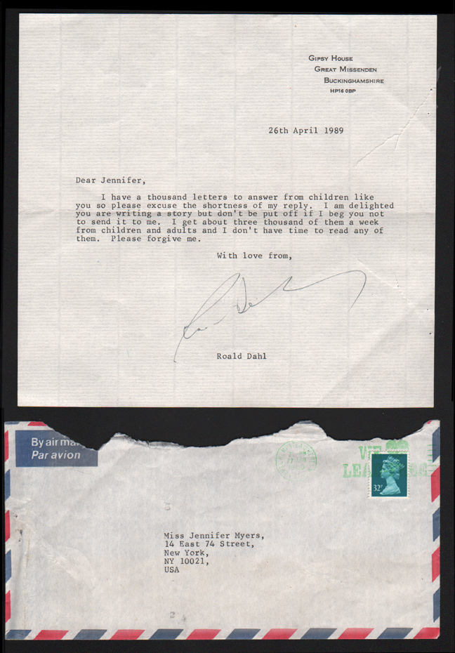 """Roald Dahl's Response Letter to Me, Age 9  Signed letter and stamped envelope 11"""" x 8"""" 1989"""