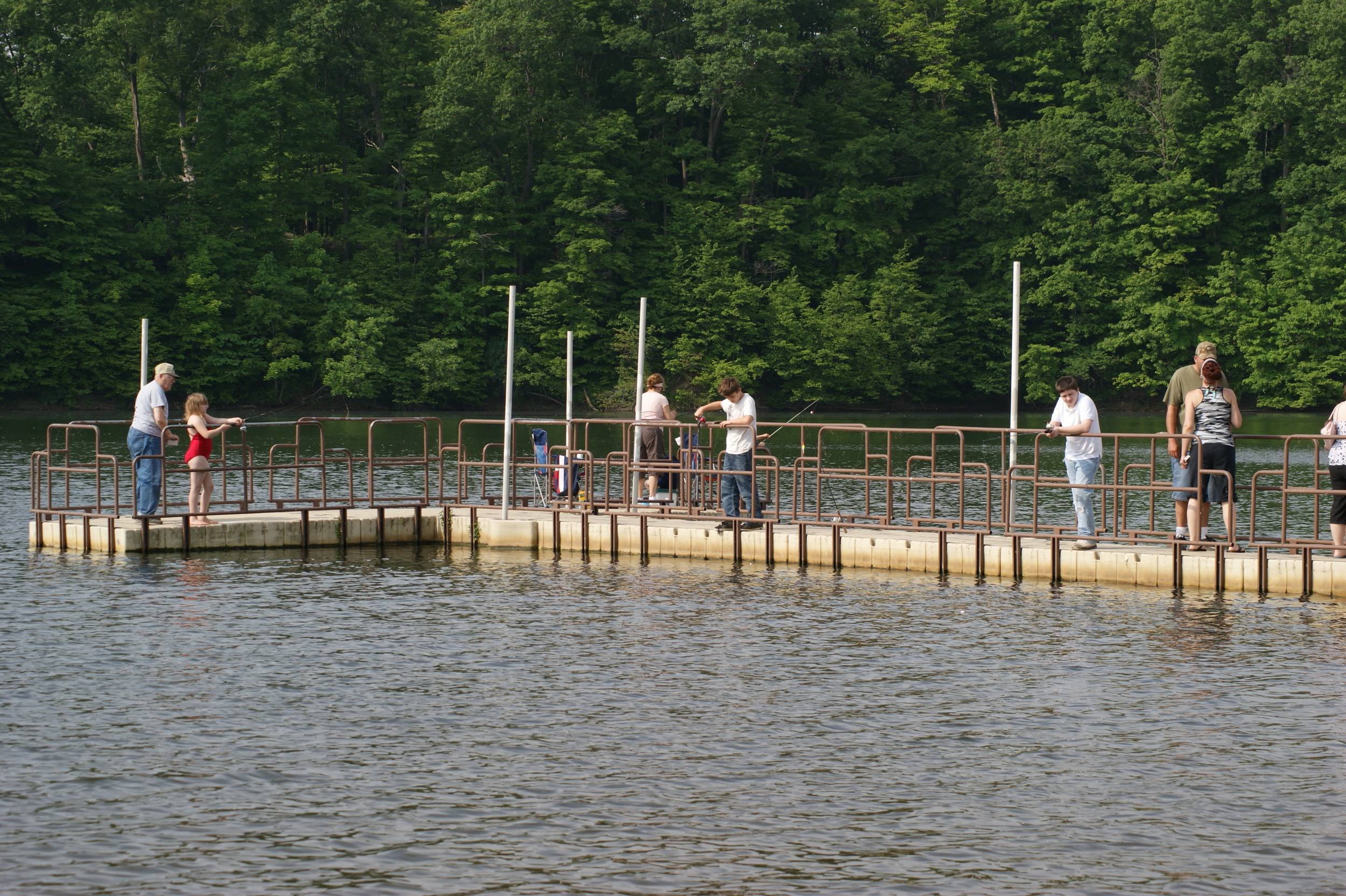 Our 125' wheelchair accessible fishing pier is certainly one of our best amenities to offer to our patrons. This allows fishing access to everyone. Over 500' of shoreline fishing access is also available at our lakefront recreation area! Don't forget, bait is available at our gatehouse!