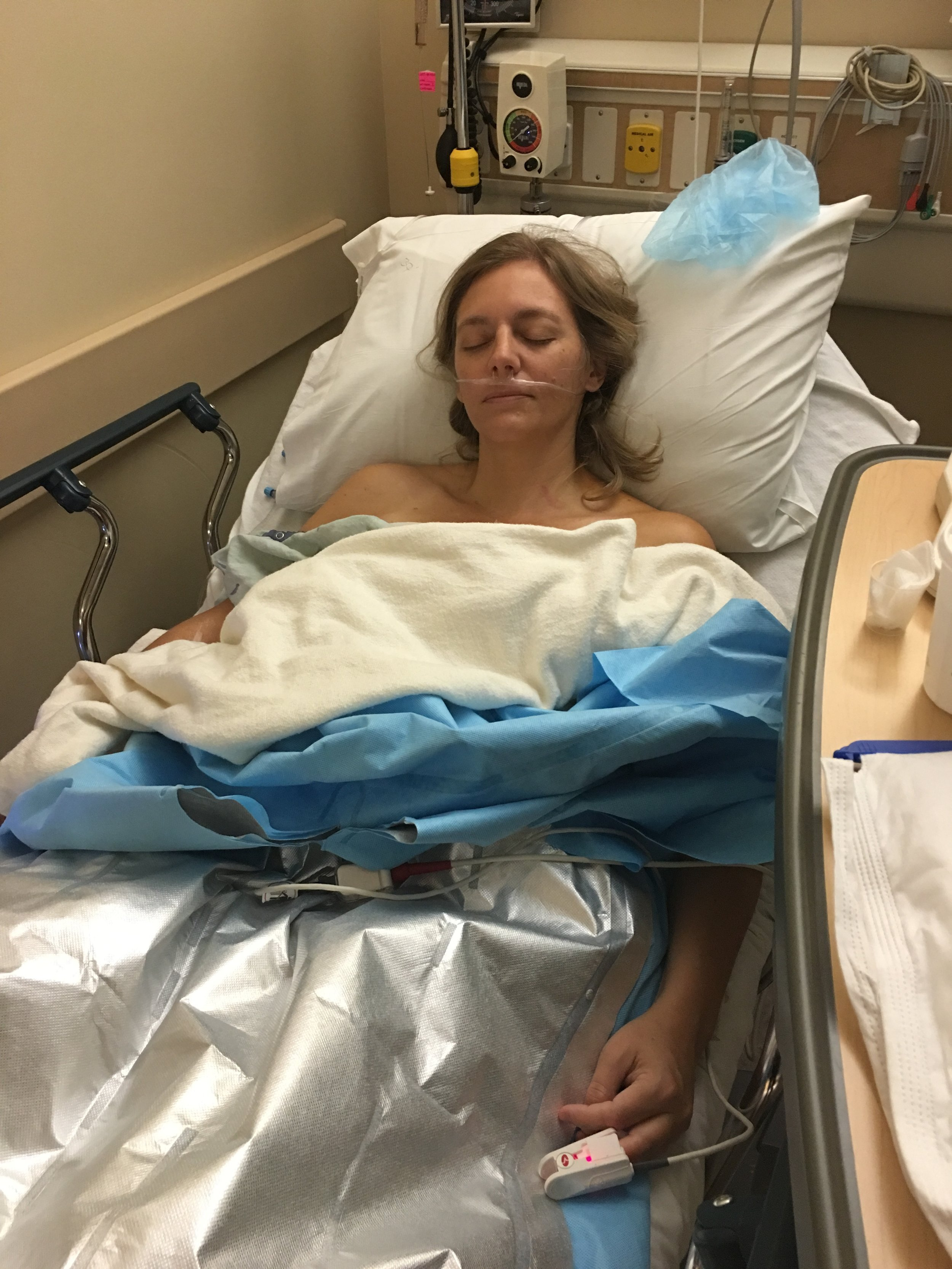 Stacey in Recovery after her Lumpectomy