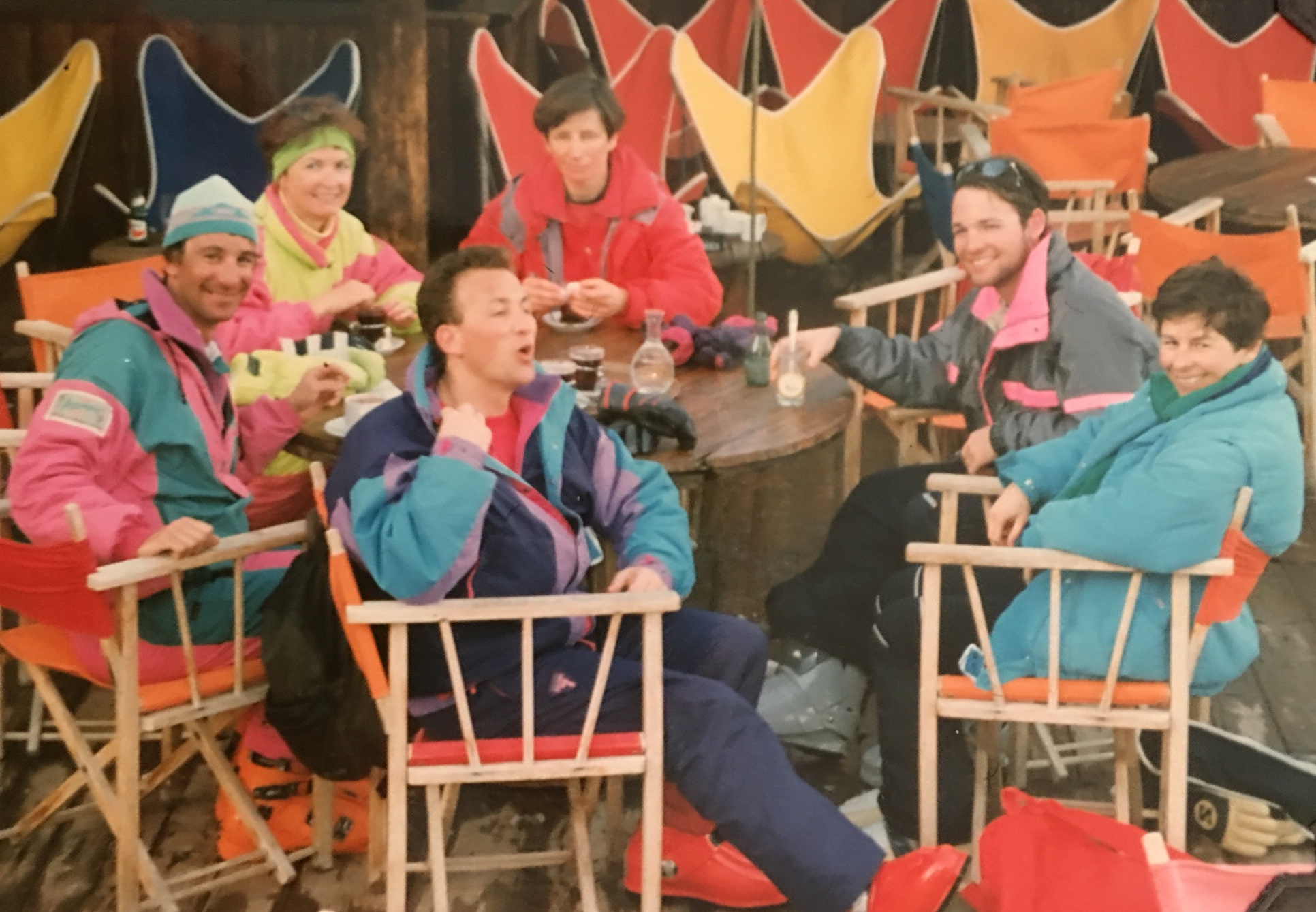 Stopping for coffee with my group. That's me on the Right in the gray and pink Euro ski jacket, our guide on the left. French ski fashion in 1990