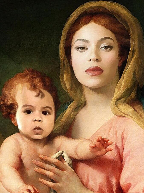 "Beyonce and Blue Ivy as  Anton Raphael Mengs' ""Madonna and Child With Two Angels"" via  carterfamilyportraits.tumblr.com"