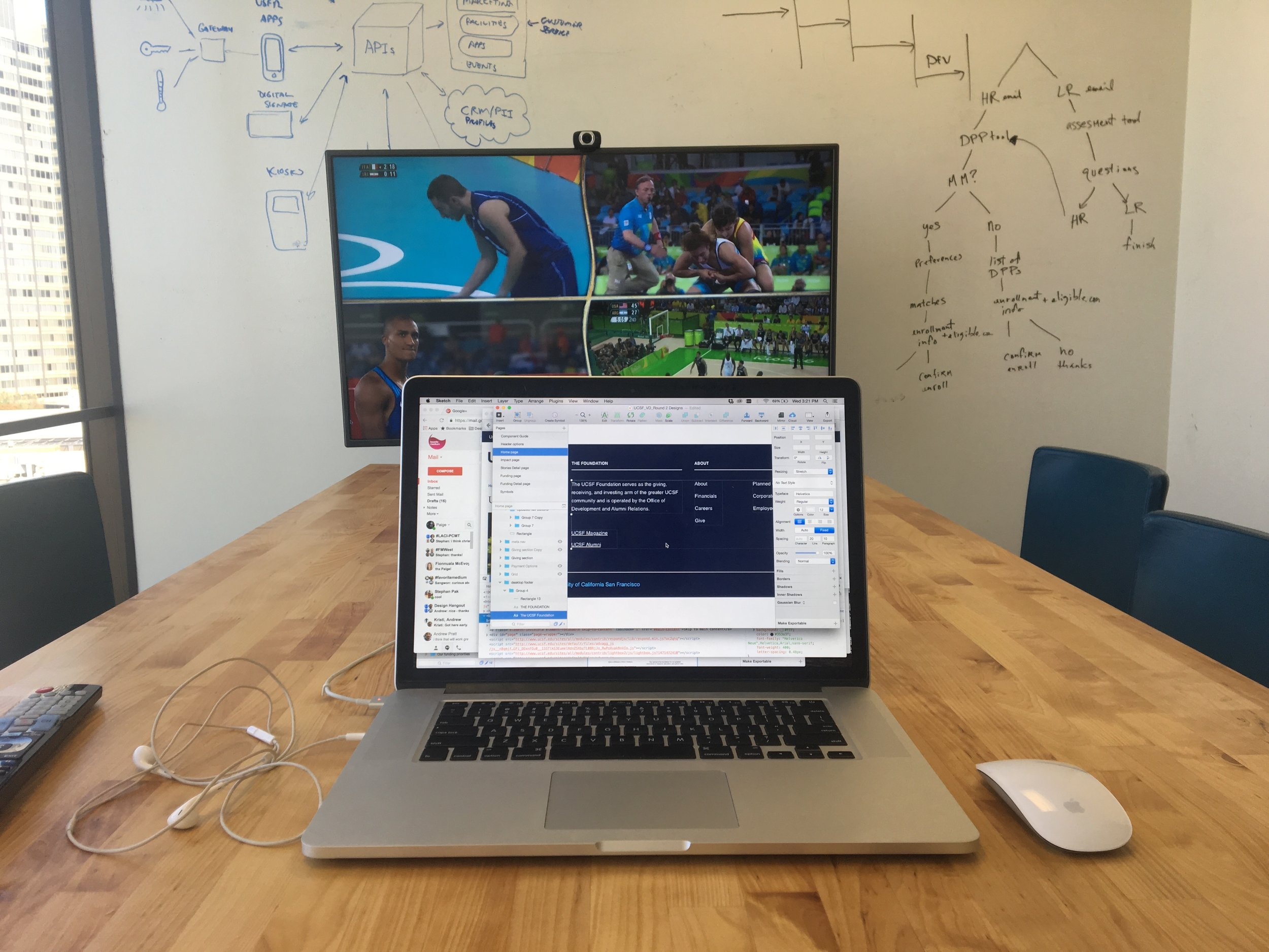 My typical setup with it's Olympic season. I don't care what sport it is, I want to watch it. It goes beyond a love for competition; I get into the underdog stories, the emotional impact, and the historical significance of it all. So naturally this is how my workspace looks for a couple weeks.