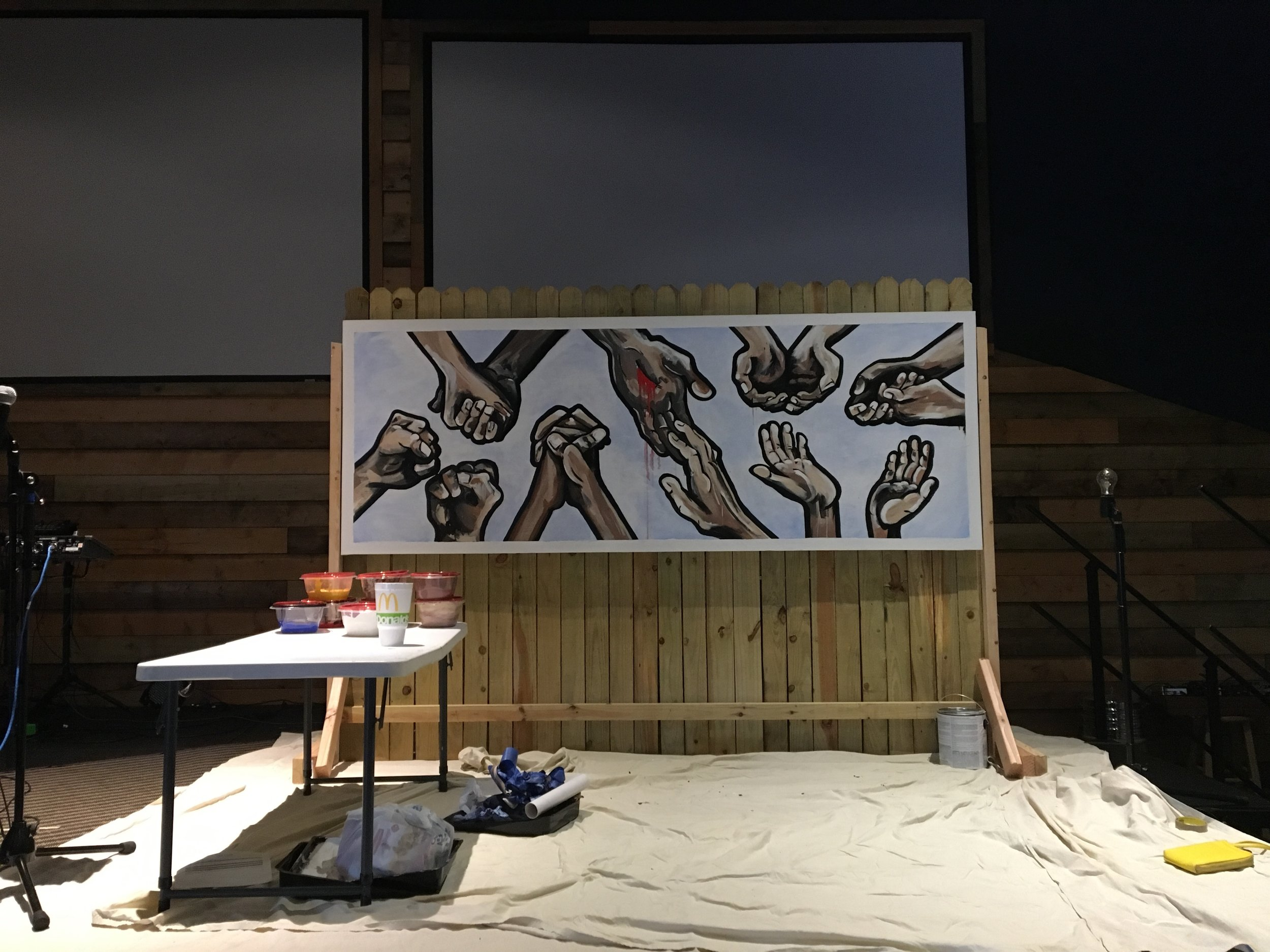 I do live paintings-- they combine two things I love, being in front of an audience and intimately sharing my artwork. Just kidding I cringe at the thought of both of those, that's why I do it.