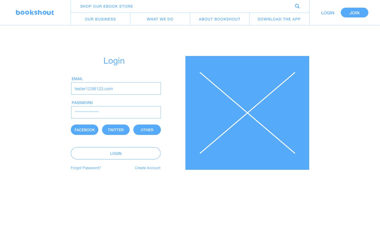 Wireframe for log in