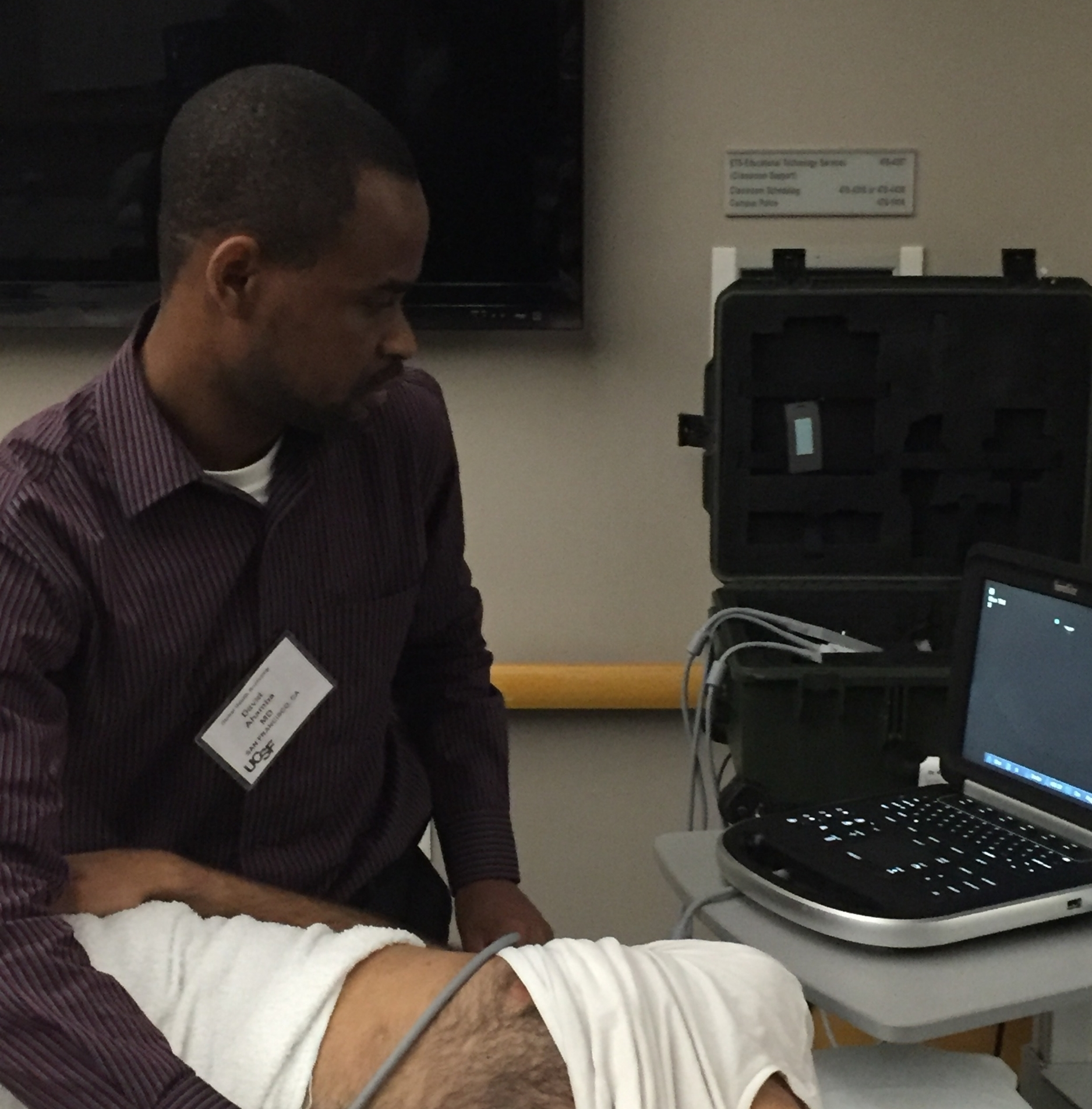 Dr. David Ahamba participating in the ultrasound course.