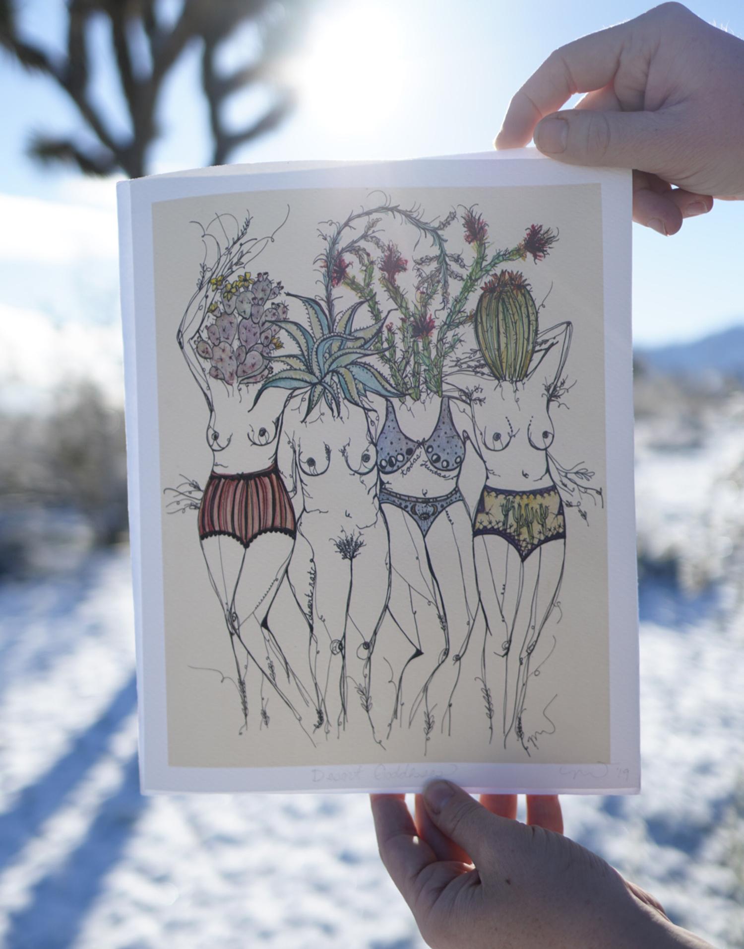 desert goddesses - ink, watercolor12x16