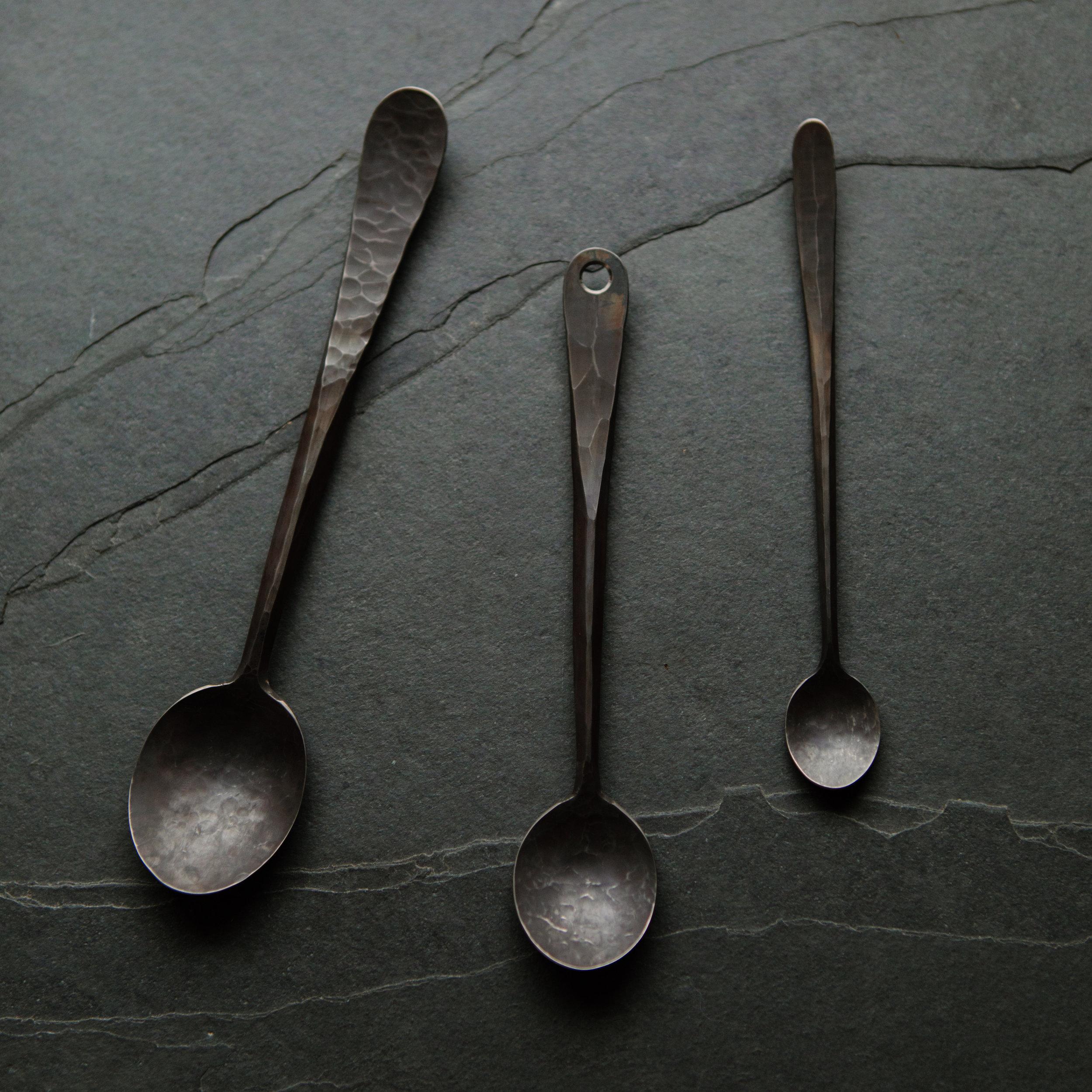 April Handforged Anium Spoons Var 1 3 Black Swan Handmade