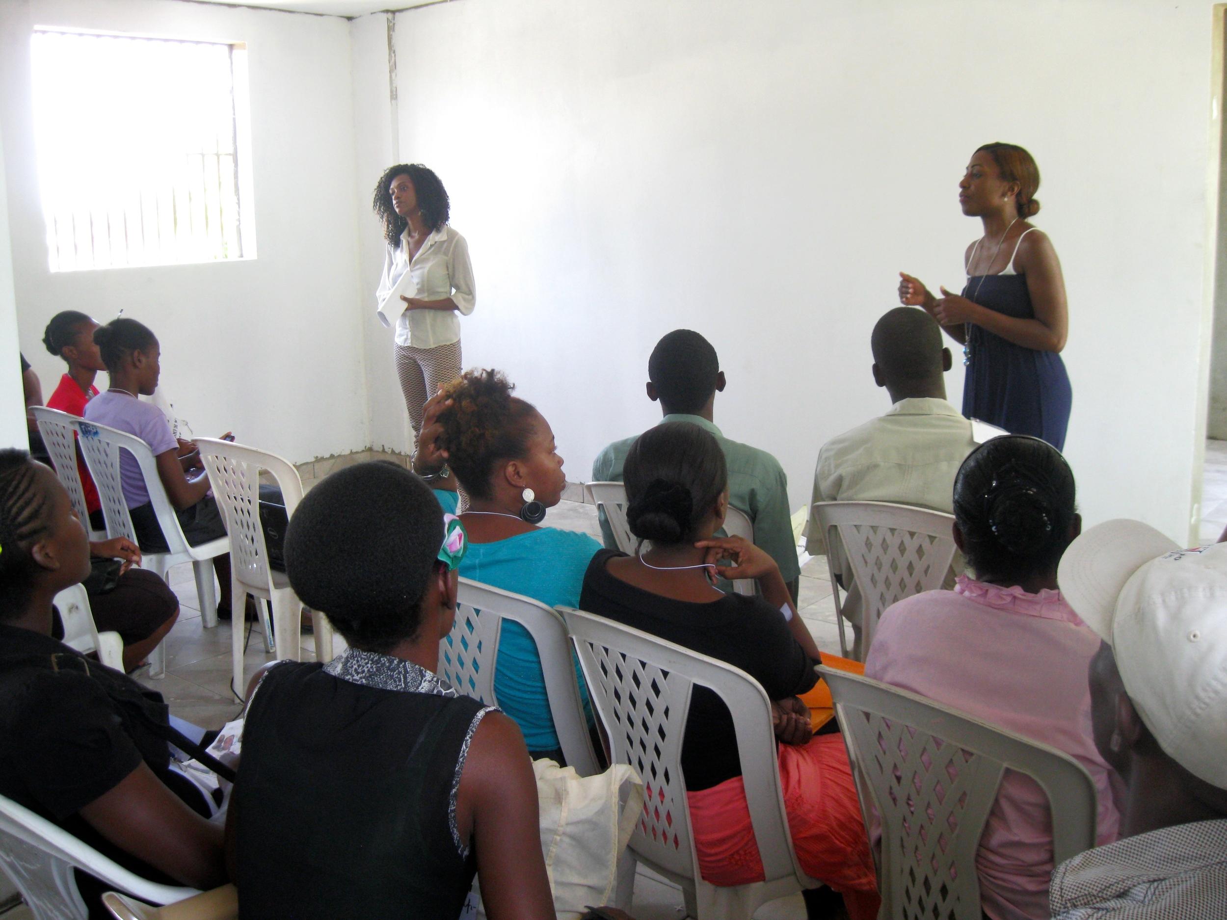Teaching my Peer Mediation Workshop with my lovely translator Florence