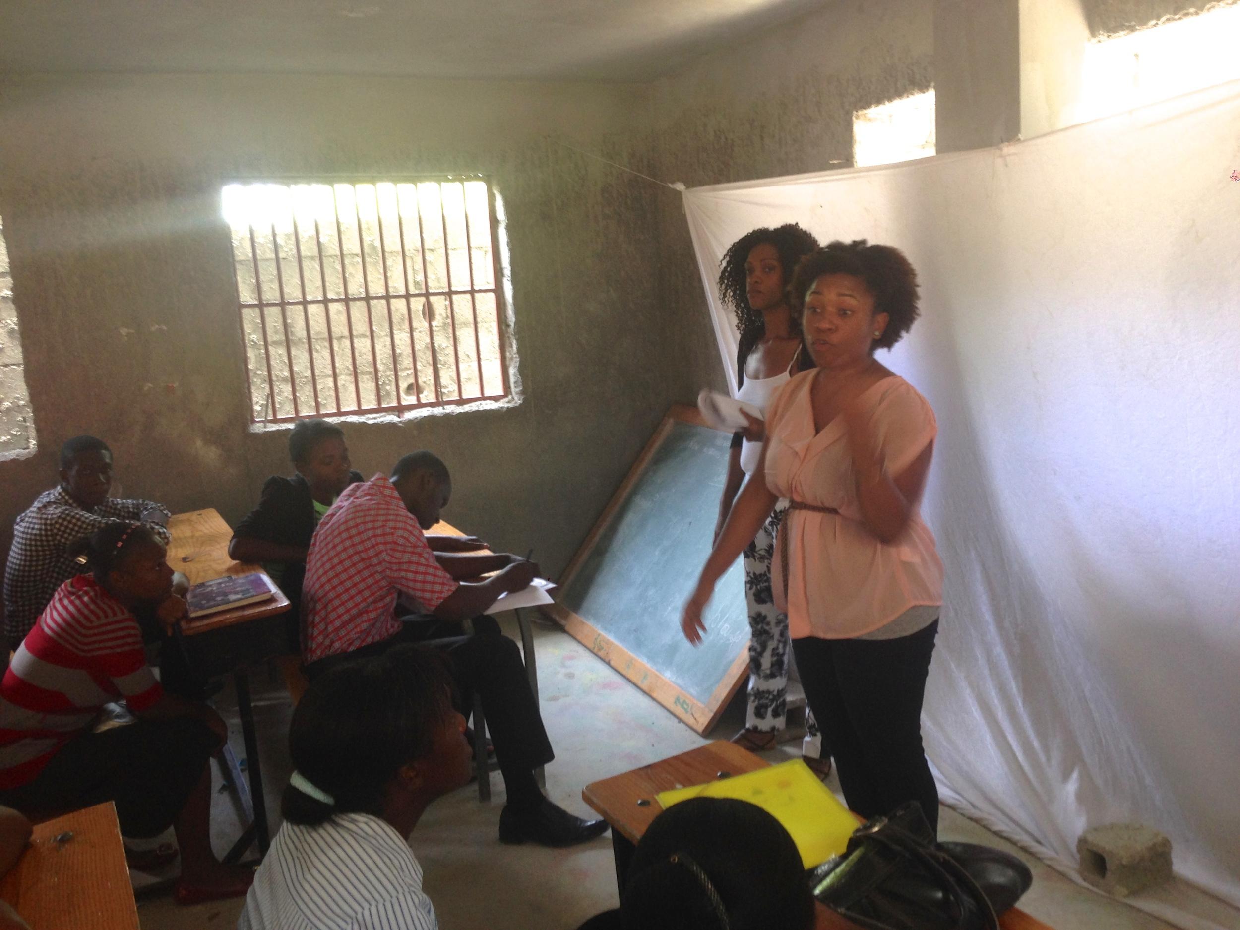 Teaching my Peer Mediation Workshop with my lovely translator Arielle