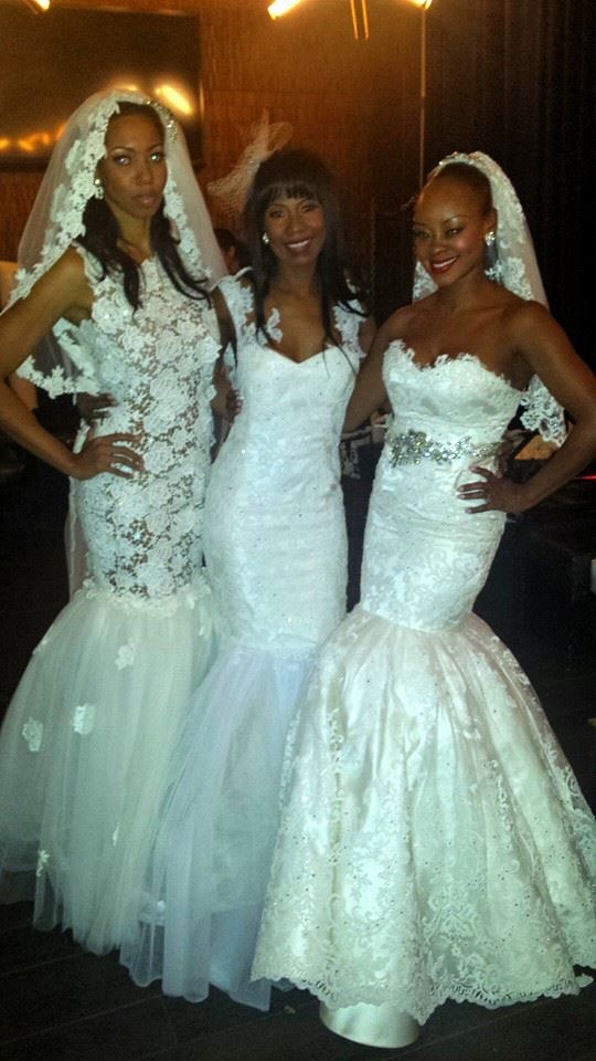 Kiana, Andrea and Ceylone wearing Yanci's gorgeous wedding gowns