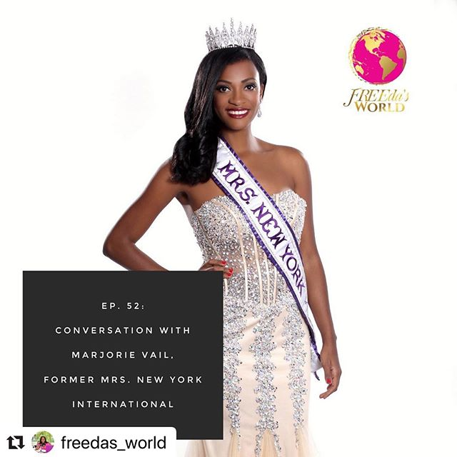 @freedas_world with @make_repost ・・・ 🚨New Episode Alert! ⠀⠀ ⠀⠀ On this episode of FREEda's World, I am speaking with the amazing Marjorie Vail! Aside from being my spirit animal, she is also a Haitian sista! 🇭🇹🇭🇹🇭🇹⠀⠀ ⠀⠀ Marjorie forayed into the pageant world in her mid-thirties but has been enjoying it ever since. Her belief is that pageantry can be a great way to promote and bring awareness to a cause and not just about what is on the contestant's surface. ⠀⠀ ⠀⠀ Marjorie had the honor of being Mrs. New York International 2015 where she used her reign to further promote Stillbirth Awareness. Personally affected by stillbirth, losing a son 15 years ago, Marjorie fell into depression for a while and found that volunteering and serving others was what saved her life and sanity. ⠀⠀ ⠀⠀ Marjorie holds a MA in Childhood Education from New York University (NYU) and MS in School Counseling from Alfred University.  She has been in the field of education for over 15 years. Currently, Marjorie is a Literacy Coach at a Title I school in Brooklyn, NY. Marjorie currently lives in Brooklyn with her husband Roman of 17 years and their son.⠀⠀ ⠀⠀ There is a lot of gem dropping going on in this episode. You don't want to miss it! 🤸🏾‍♂️⠀⠀ ⠀⠀ Social Media:⠀⠀ @marjorievail⠀⠀ @newyorkcares⠀⠀ @theglambranddesigner ⠀⠀ ⠀⠀ New website Alert 🙌🏾:⠀⠀ Check out the New FREEda's World website at www.freedasworld.com and be sure to subscribe to the email list!⠀⠀ ⠀⠀ *FREEda's World is available everywhere you enjoy your podcasts. Don't forget to subscribe, rate and review!⠀⠀ ⠀⠀ ⠀⠀ ⠀⠀ ⠀⠀ ⠀⠀ ⠀⠀
