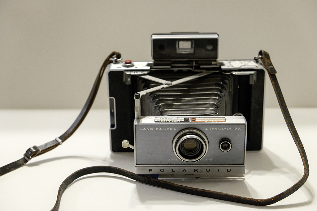 My Polaroid Land Camera 100, made circa 1963-1966.  I've had to make some repairs to the bellows using liquid electrical tape, but it works just fine.  I also performed a simple battery conversion so it can use cheap AAA batteries. You can buy original type batteries but they're a bit pricey.