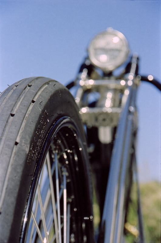 Both the Elan II and IIe are full-featured SLRs that allow you to control the focus point in your photo. Here I shot wide open, focusing on the front tire to deliberately throw the handlebars out of focus.