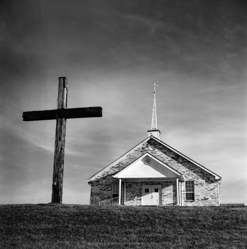 Tennessee country church. Originally shot on 120 film, scanned and edited in Photoshop. Medium format film is especially suited for large, richly-detailed scans.