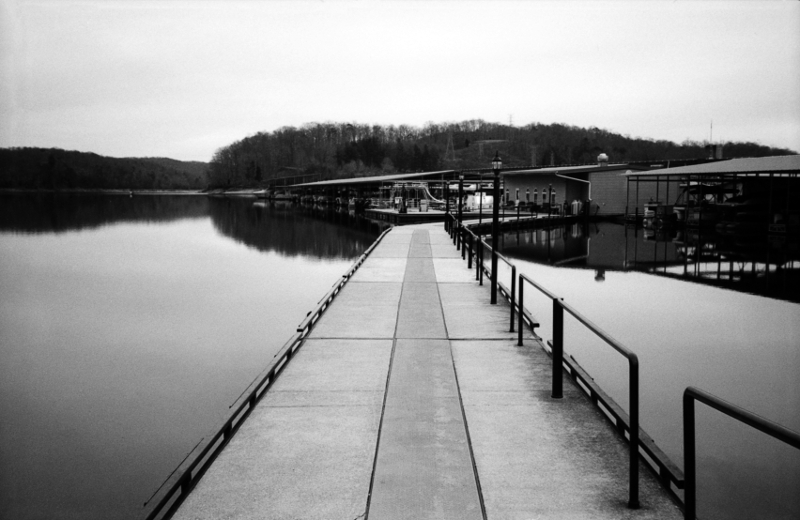 Pier at Norris Lake. Not much activity, and the water has been lowered markedly for winter. Tennessee has very few natural lakes; most are dammed up rivers.